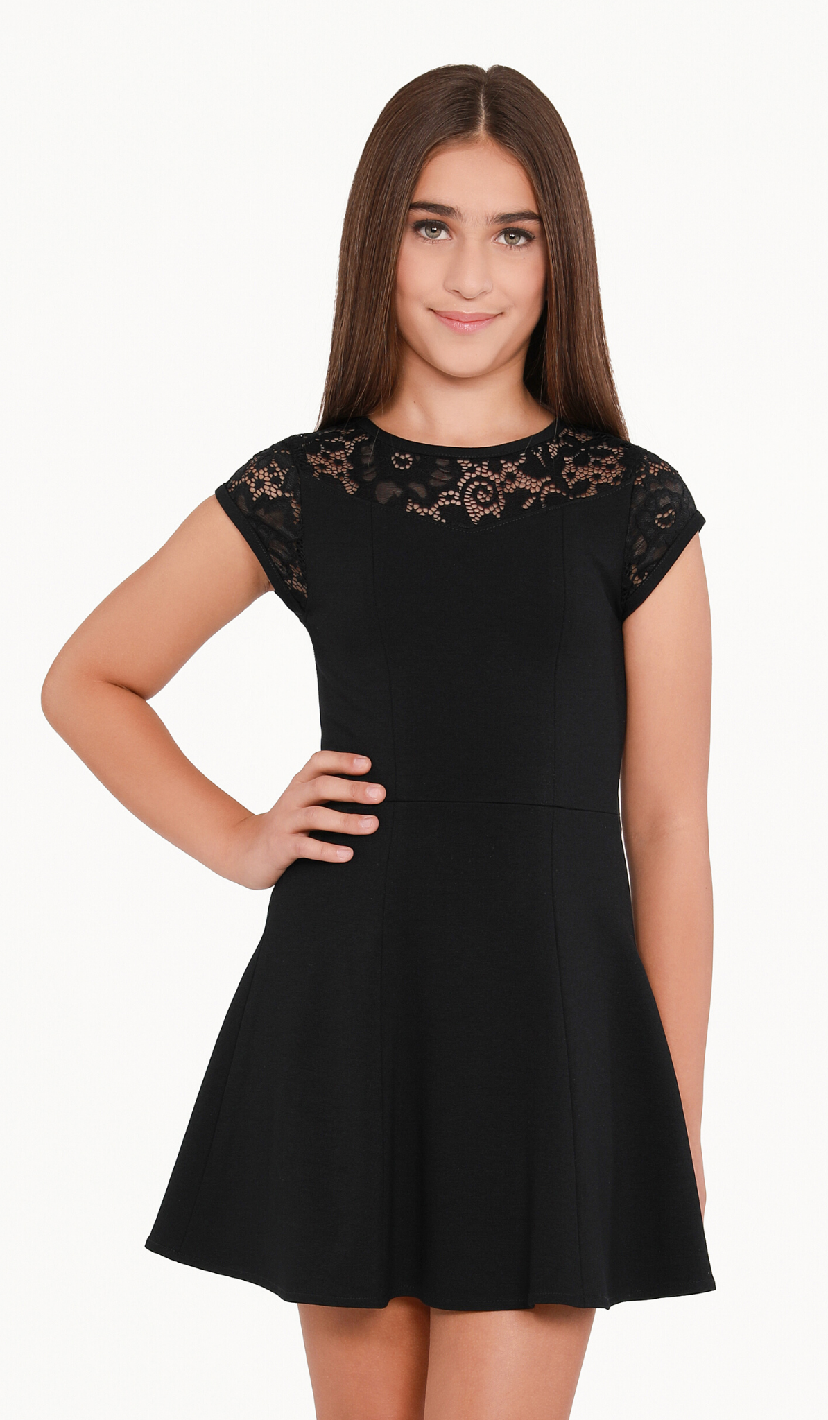 Sally Miller Jackie Dress - Black stretch super ponti six panel dress with stretch lace yoke and cap sleeve with zipper at back