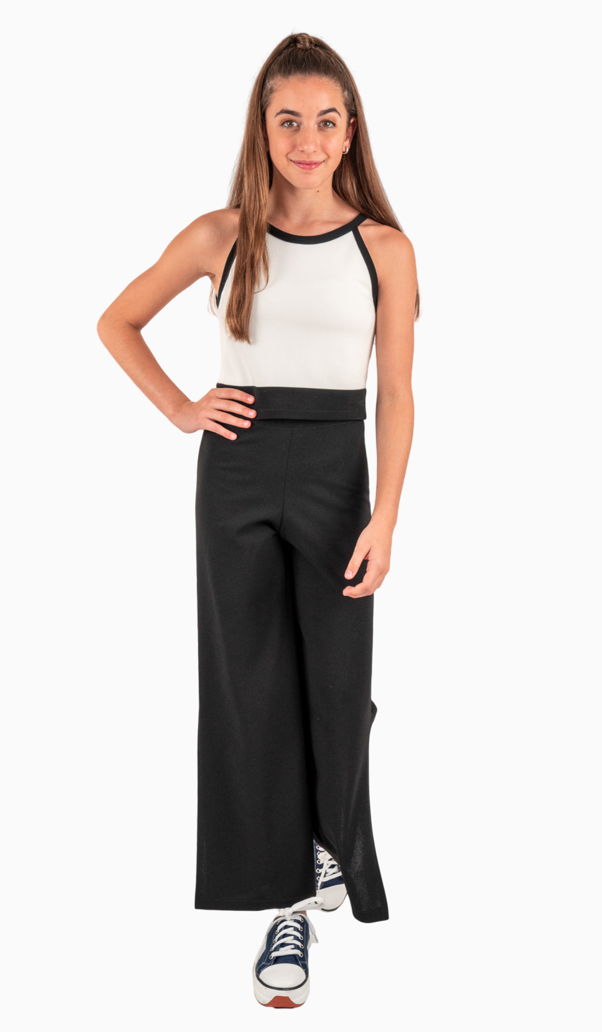 Sally Miller Moda Pant - Black stretch crepe knit wide leg cropped pant with side slit