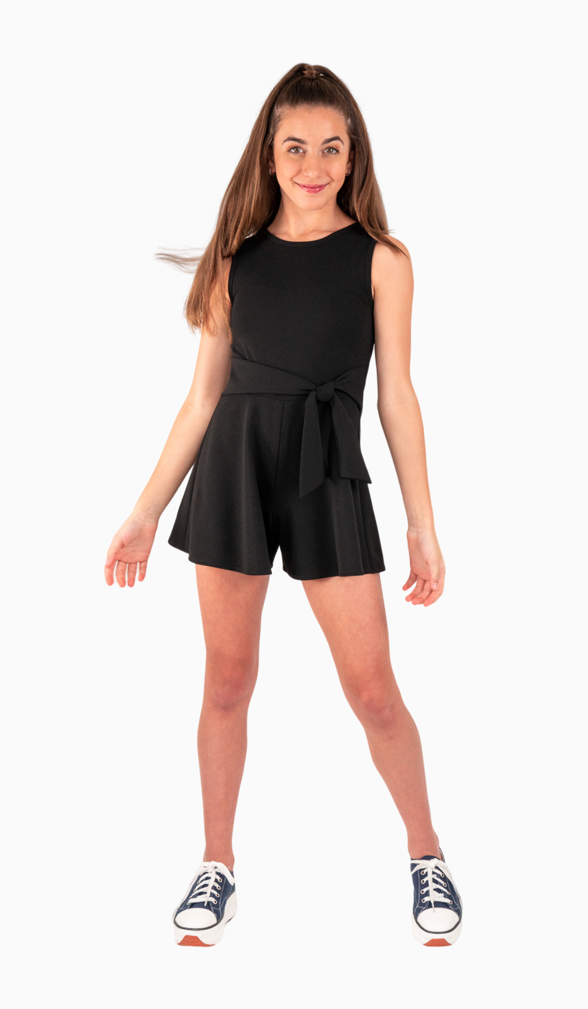 Sally Miller Side Tie Romper - Black stretch crepe knit romper with waist tie and zipper at back