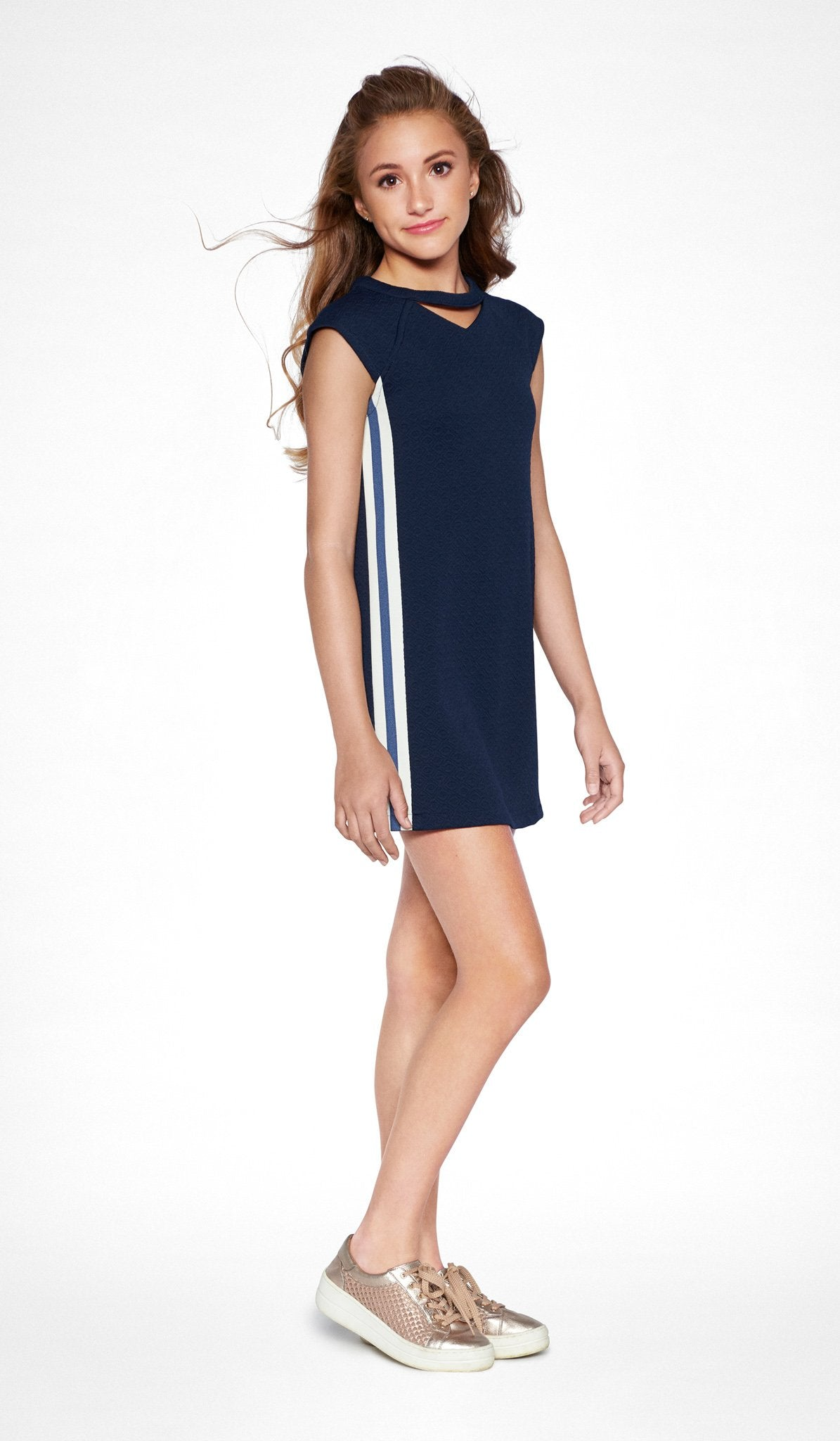 Navy stretch knit straight dress