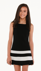 Sally Miller Austin Dress - Black stretch crepe knit shift tank dress with ivory trim detail