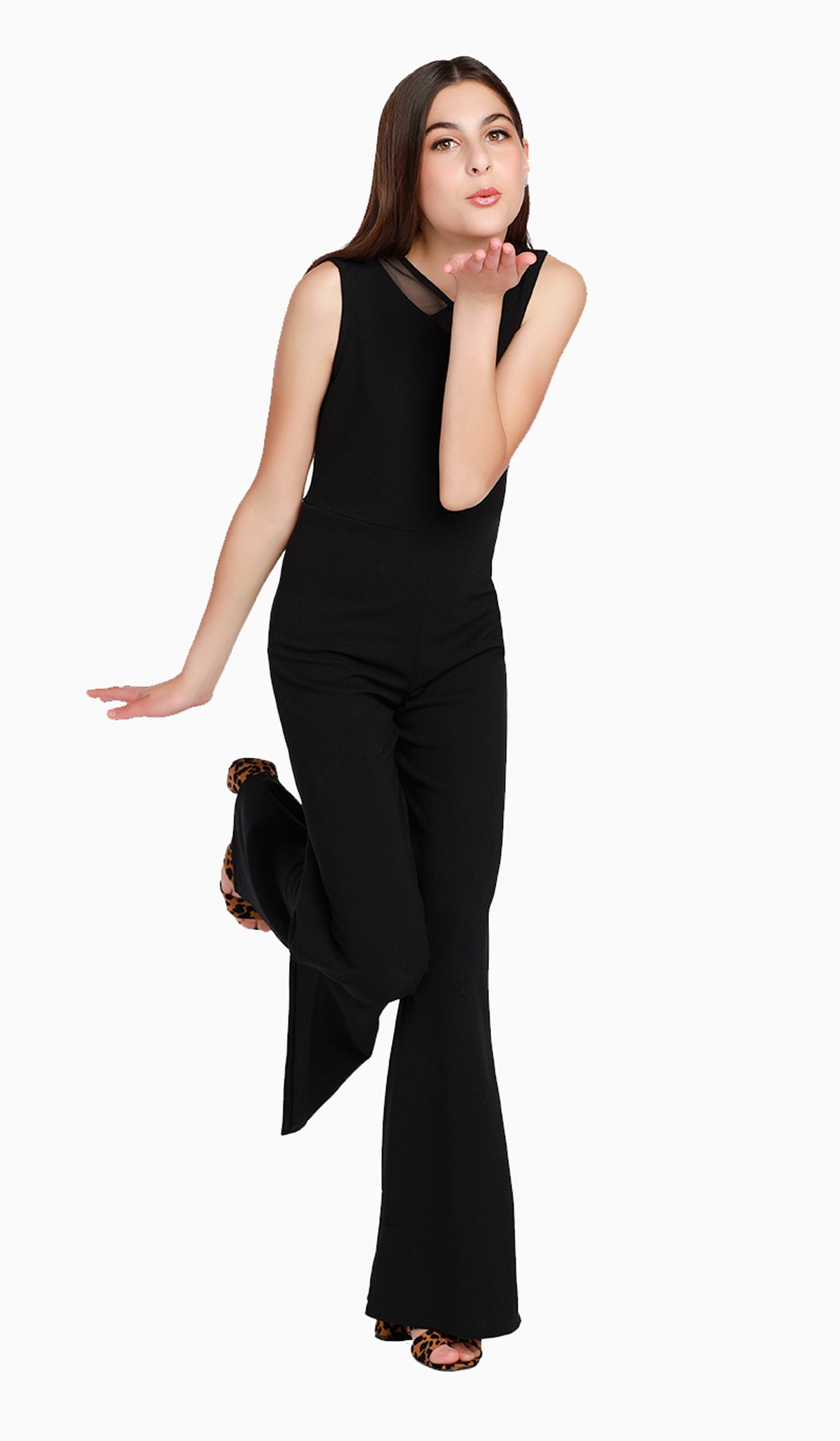 The Sally Miller Alexis Jumpsuit | Black stretch crepe georgette jumpsuit with neck mesh detail and zipper at back  | Luxury tween dresses & juniors dresses for all occasions and events