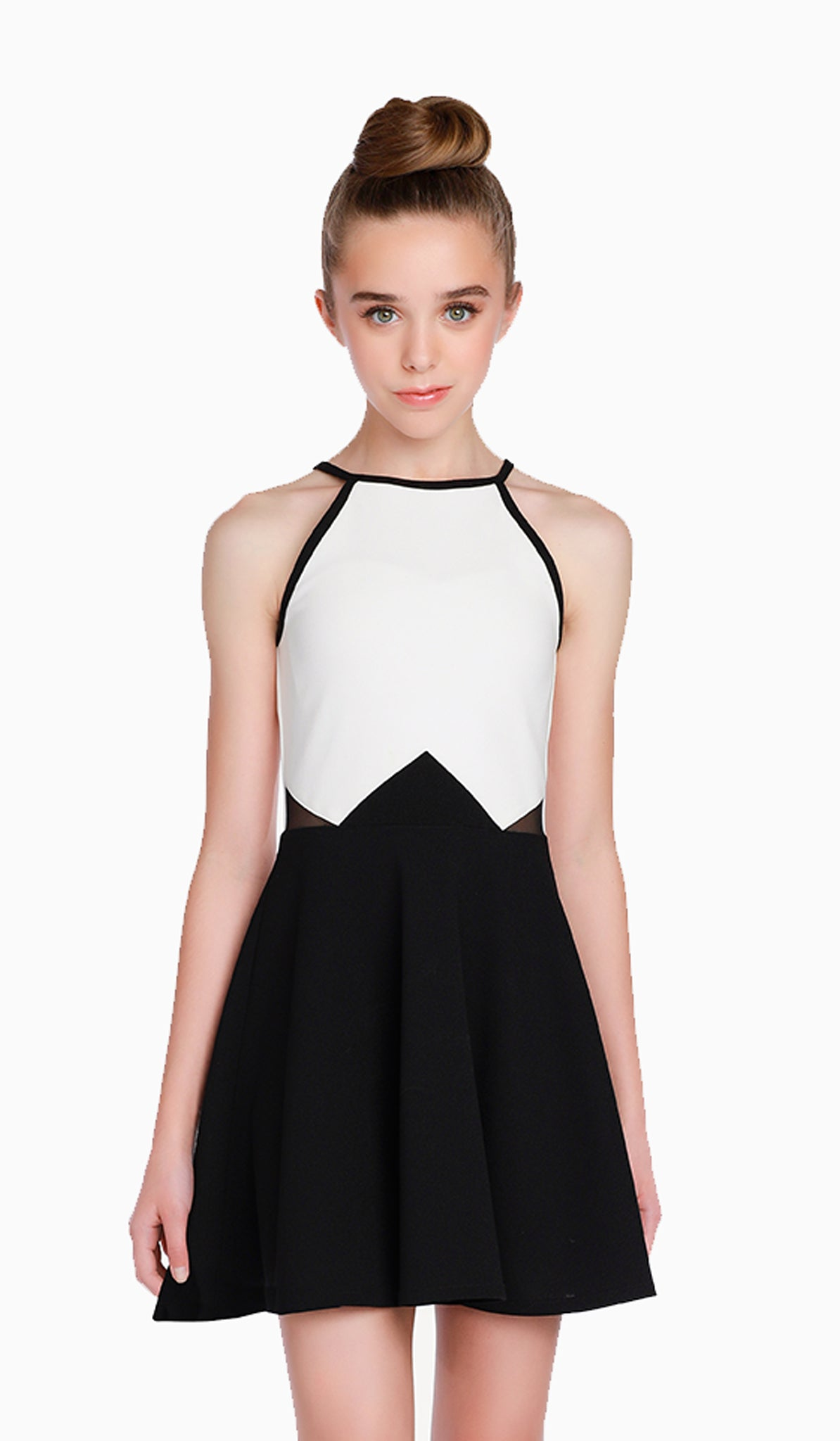 The Sally Miller Anissa Dress | Ivory and black color block stretch crepe georgette fit and flare dress with waist mesh inserts and keyhole at back opening  | Luxury tween dresses & juniors dresses for all occasions and events