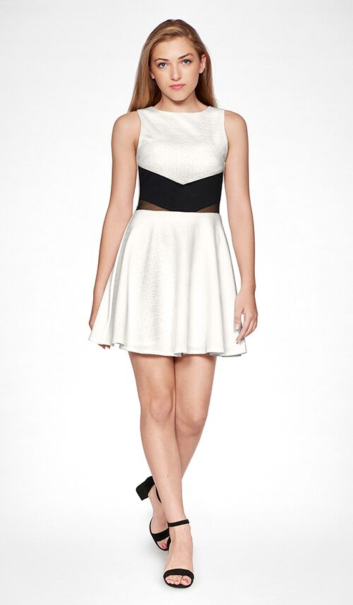 Sally Miller junior ivory fit and flare textured stretch knit special occasion dress with back gold zipper.