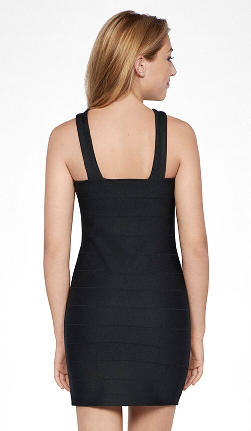 Sally Miller junior black body con knit special occasion dress.