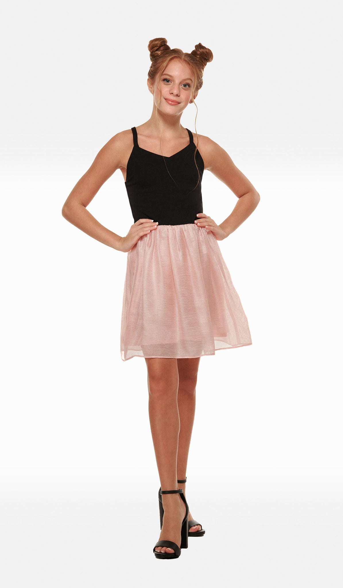 The Sally Miller Alexandra Dress - Black ballet neck super ponti bodice with blush chiffon gathered skirt and side invisible zipper