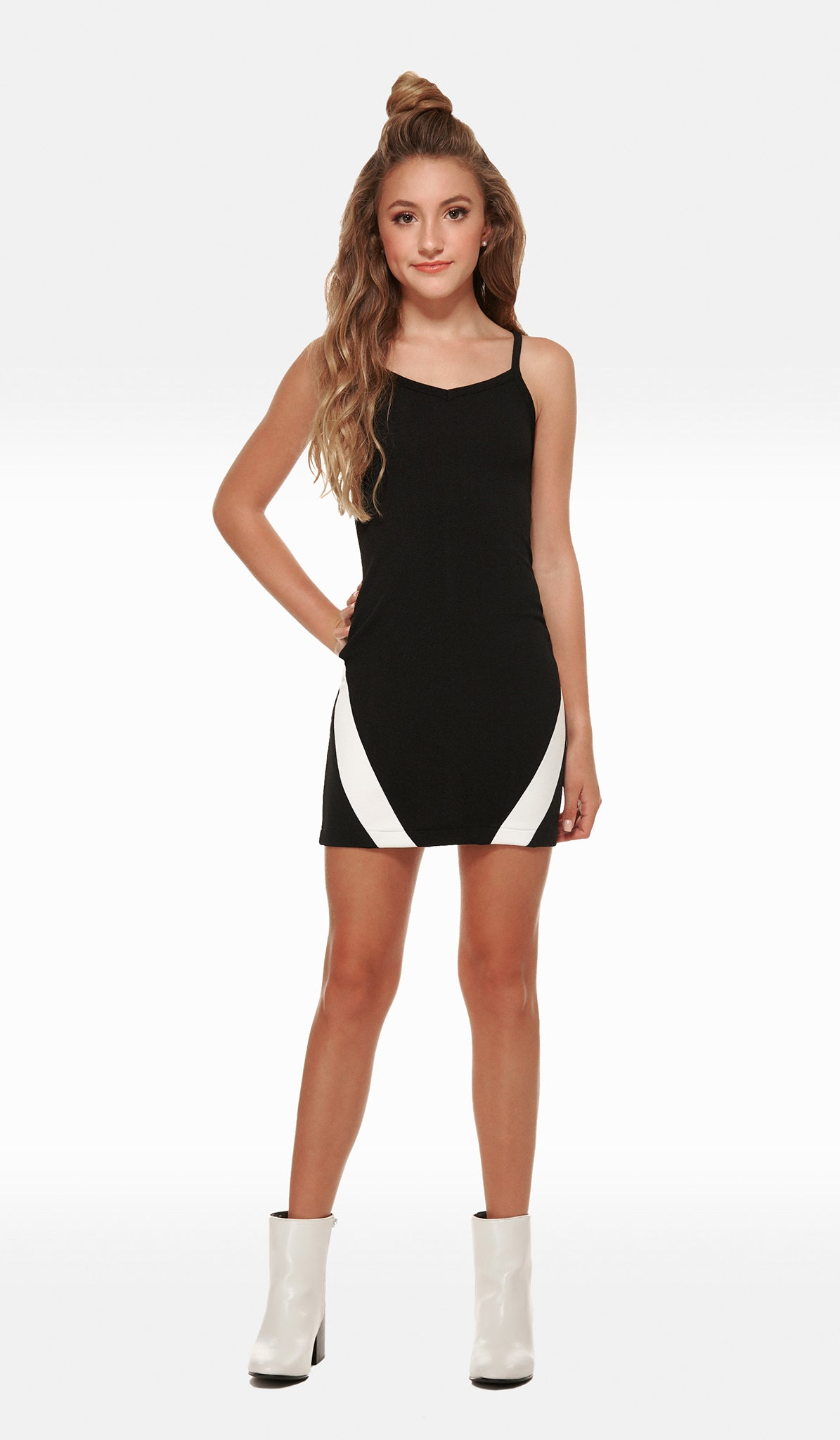 Black stretch textured knit body con with ballet neck and Ivory stripe detail Brooke Dress Sally Miller