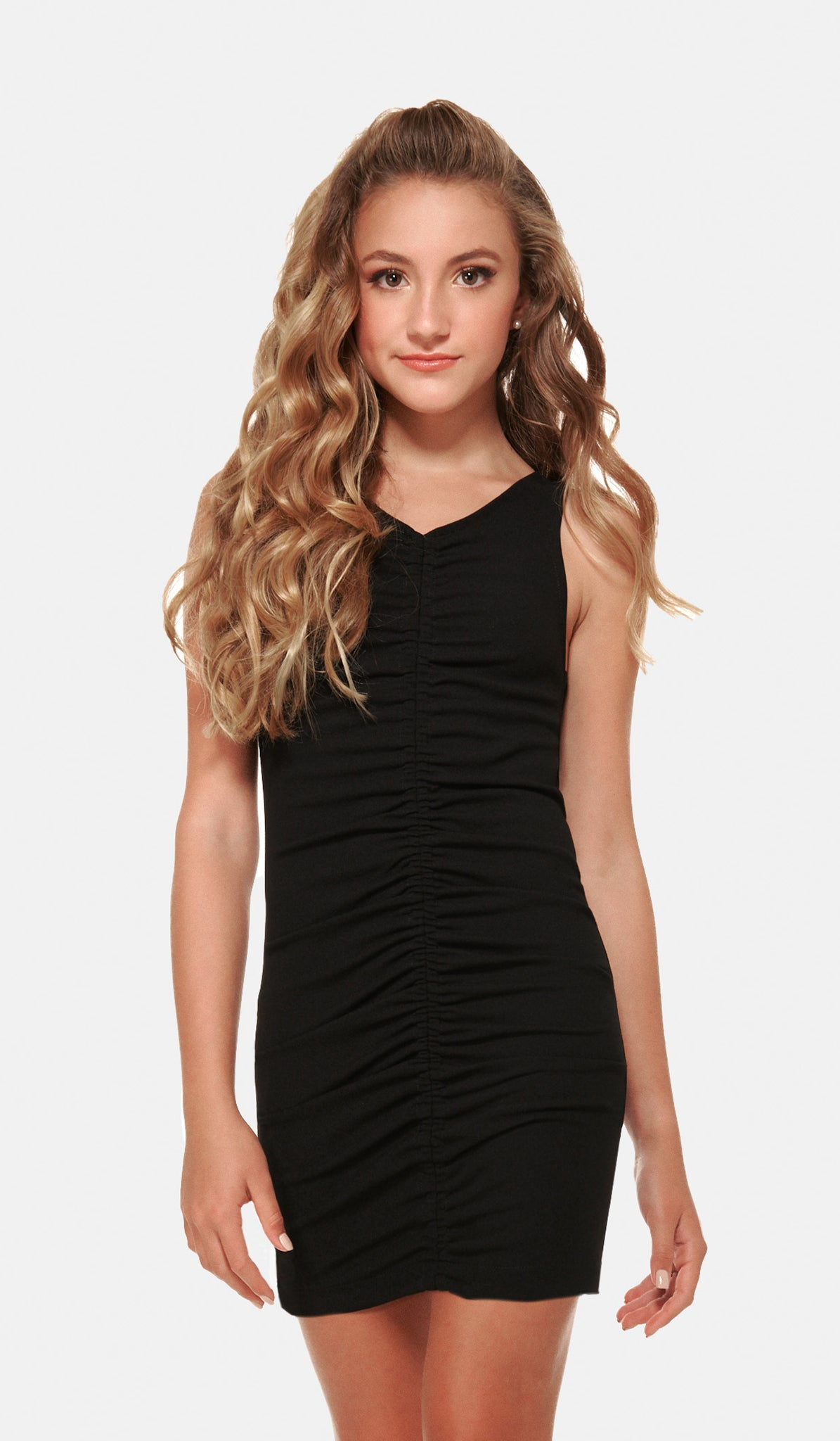 The Sally Miller Deb Dress Juniors - Black stretch crepe georgette body con dress with center front rouching