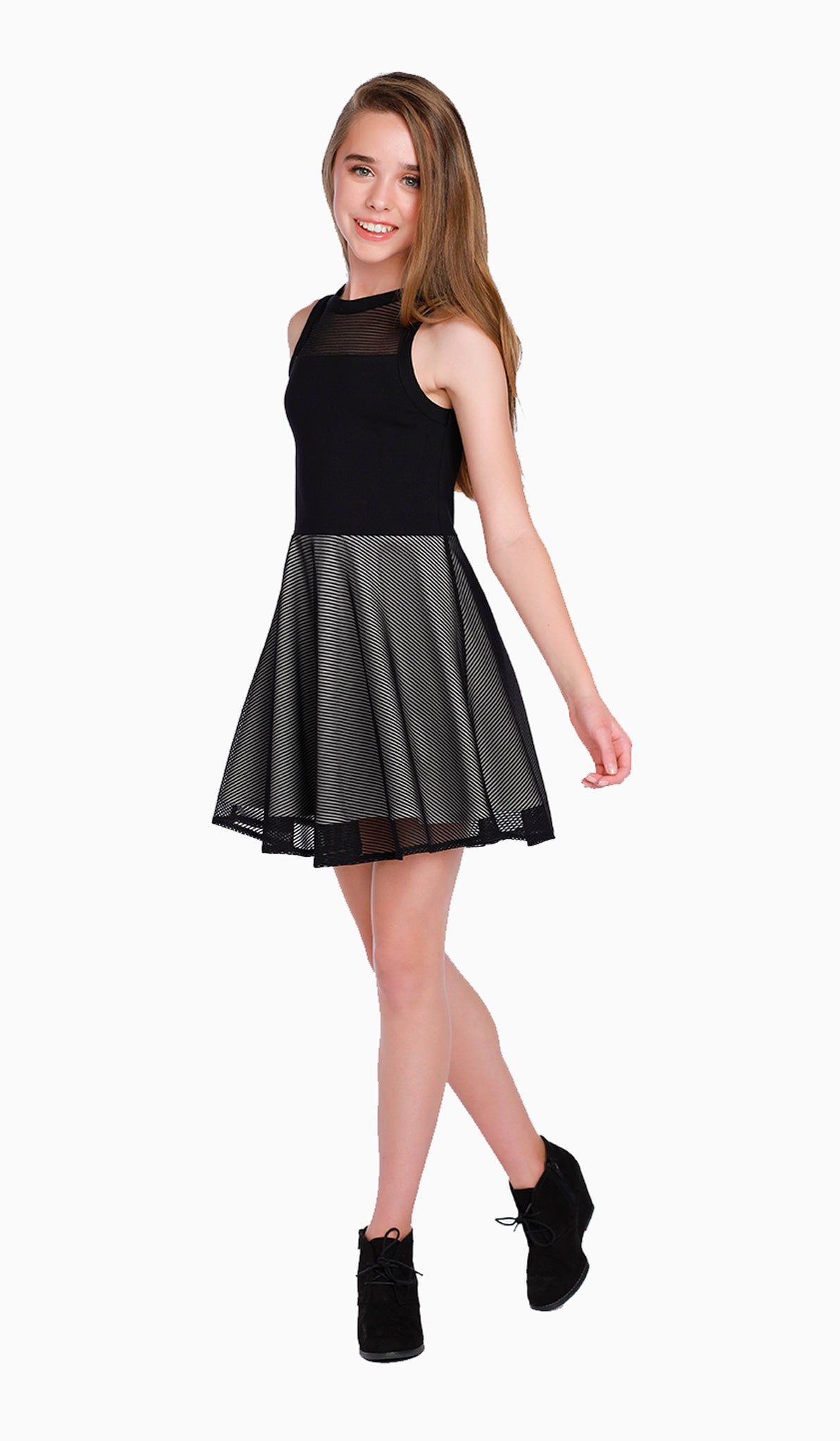 The Sally Miller Eden Dress | Black stretch-knit fit and flare dress with textured stripe mesh yoke and skirt overlay  | Luxury tween dresses & juniors dresses for all occasions and events