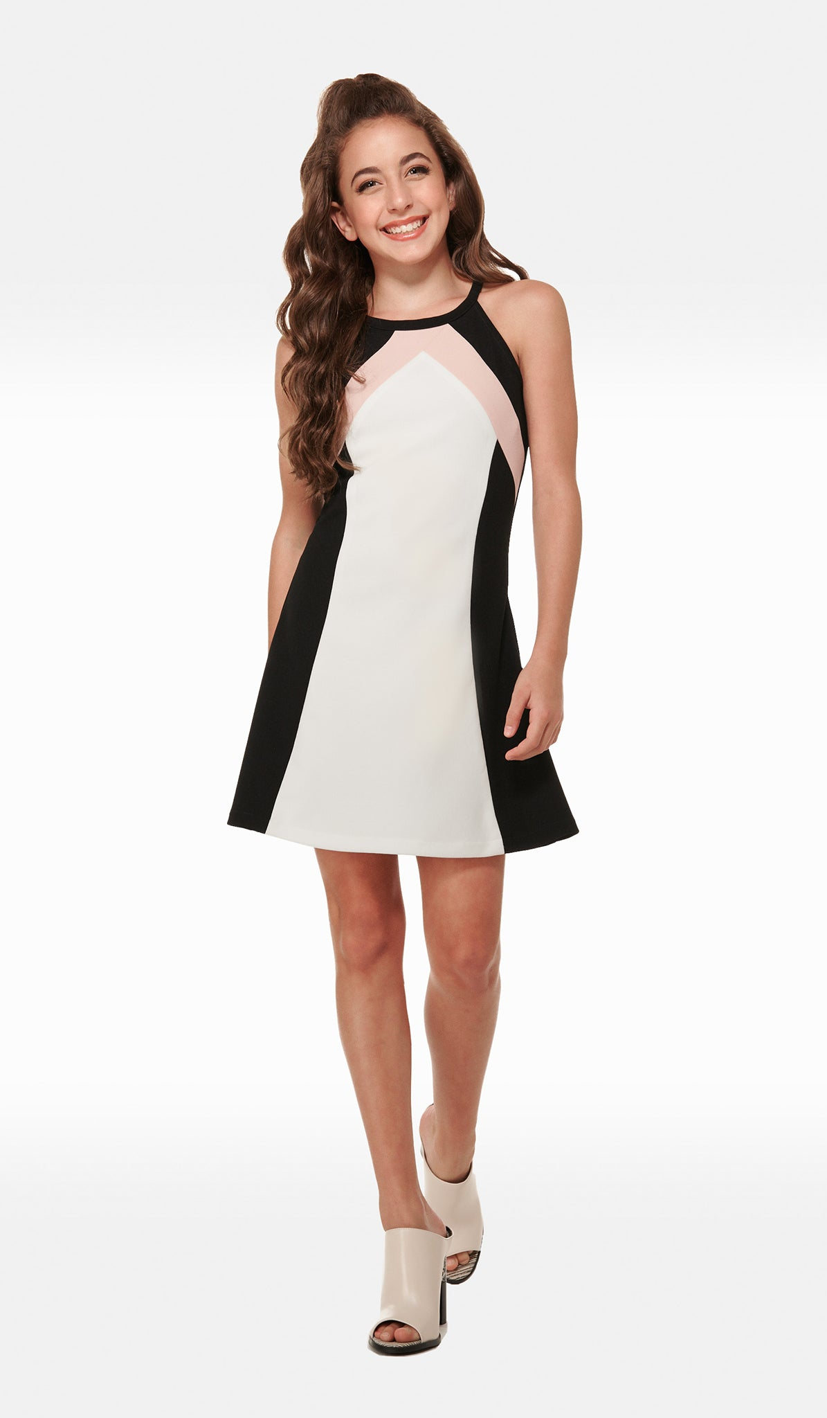 Modern Multi color block stretch crepe georgette dress with button back closure Sally Miller Hope Dress