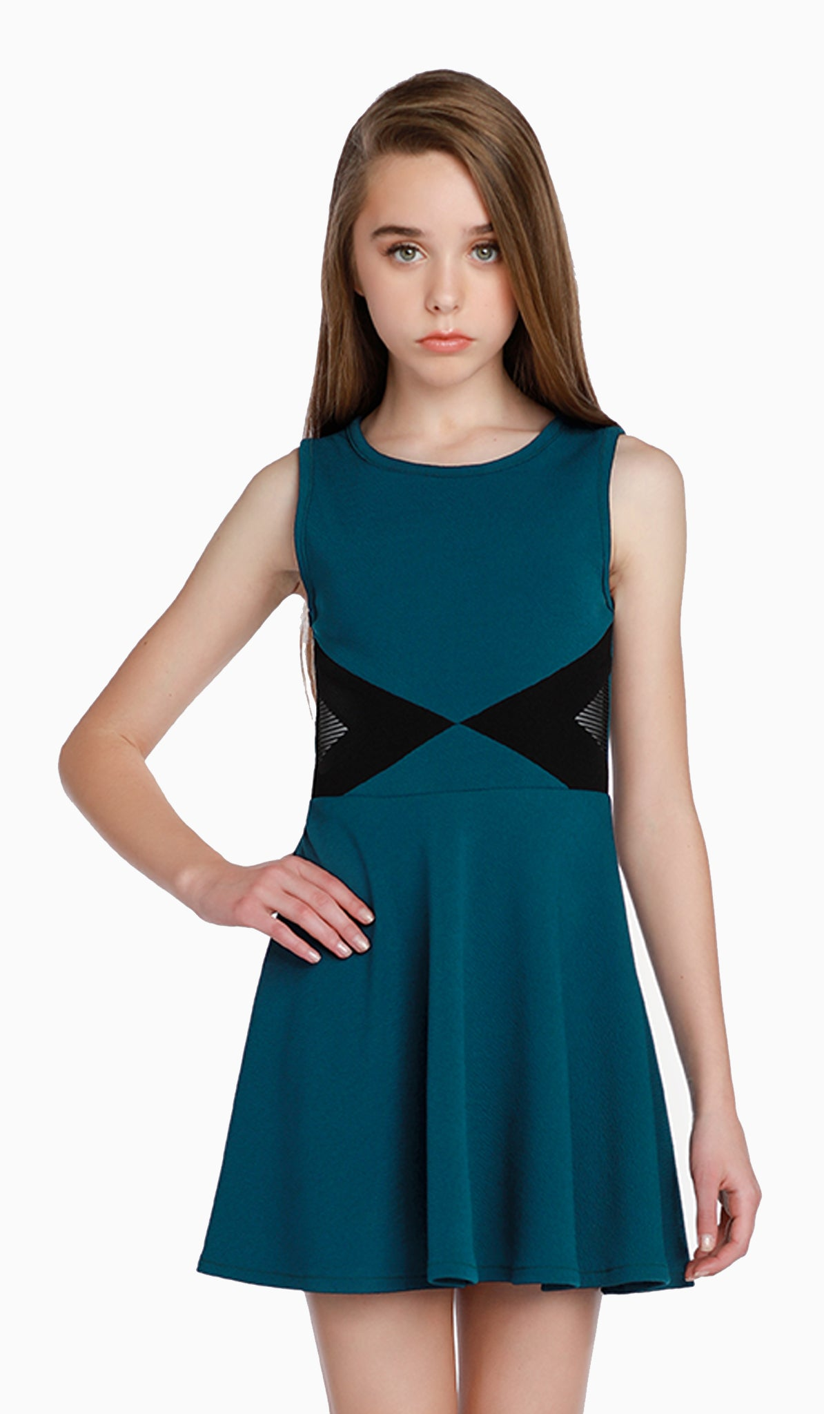 The Sally Miller Jada Dress | Teal textured stretch knit fit and flare dress with inserts at waist  | Luxury tween dresses & juniors dresses for all occasions and events