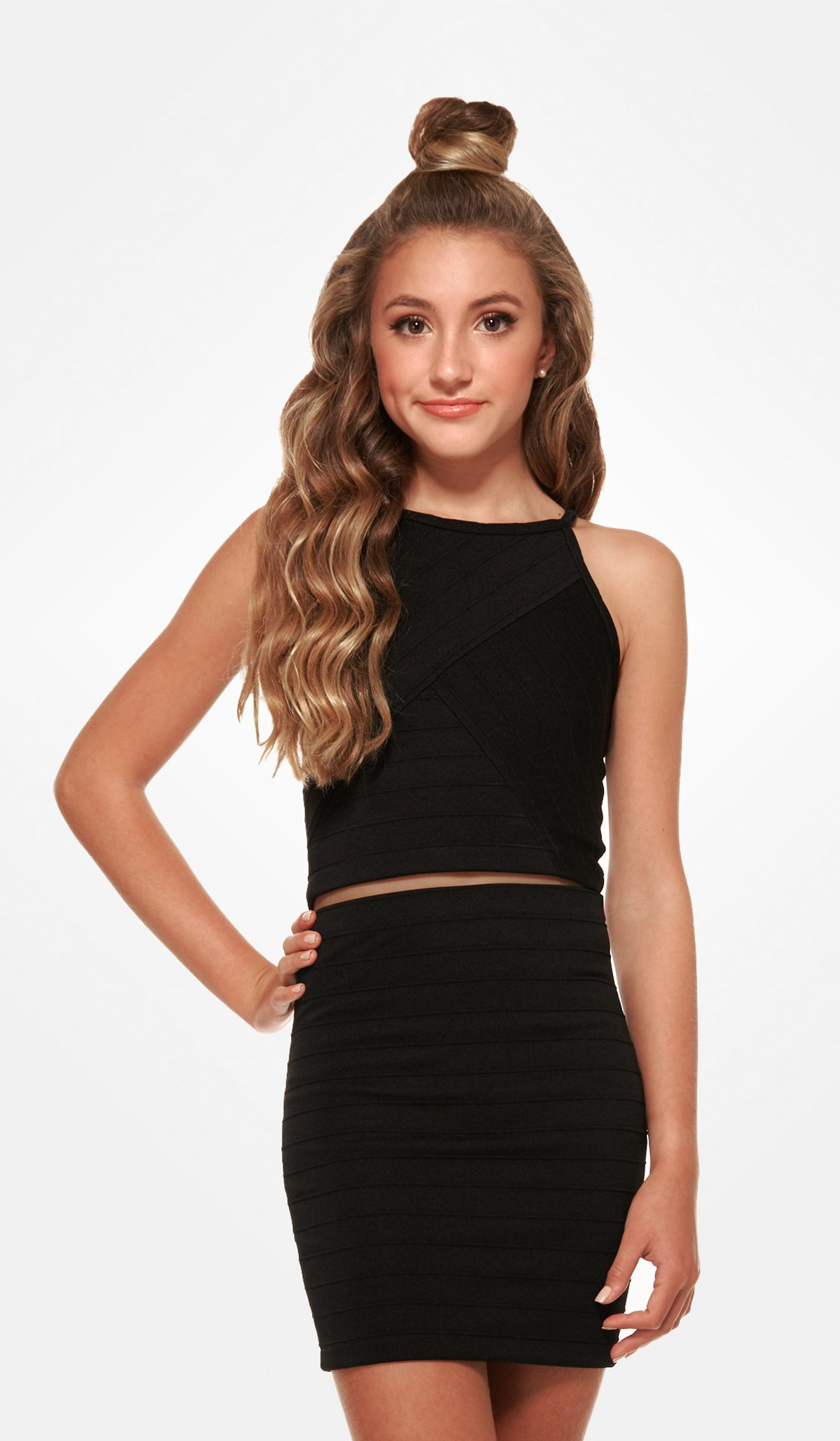 The Sally Miller Jill Dress - Black varigated stripe textured stretch knit body con skirt set
