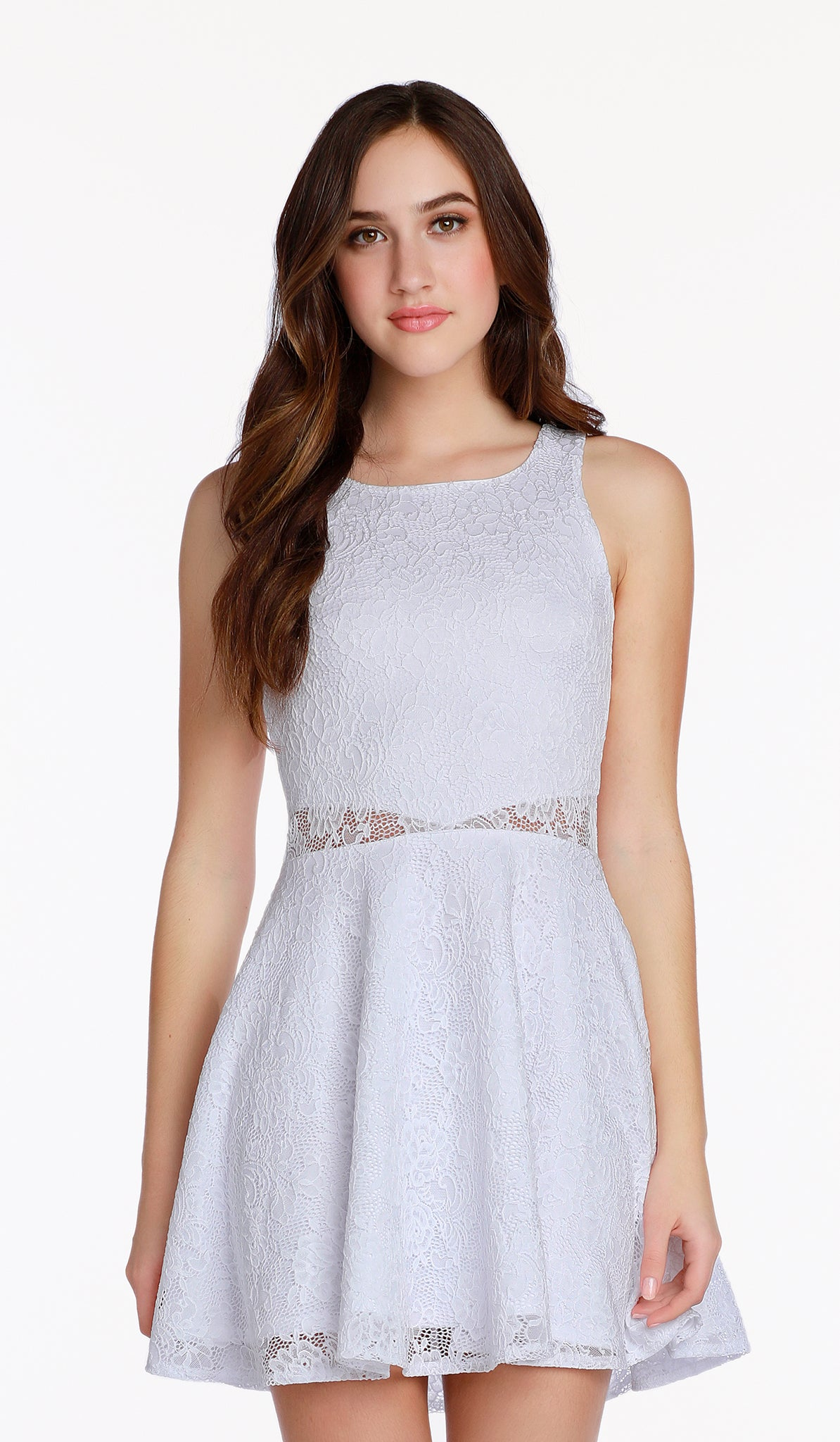 The Sally Miller Rene Dress Juniors - White stretch crochet lace fit and flare dress with illusion waist