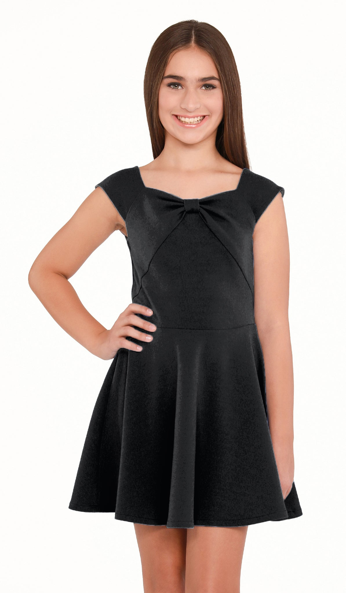 Sally Miller Liv Dress - Black stretch crepe georgette cap sleeve fit and flare dress with bow detail