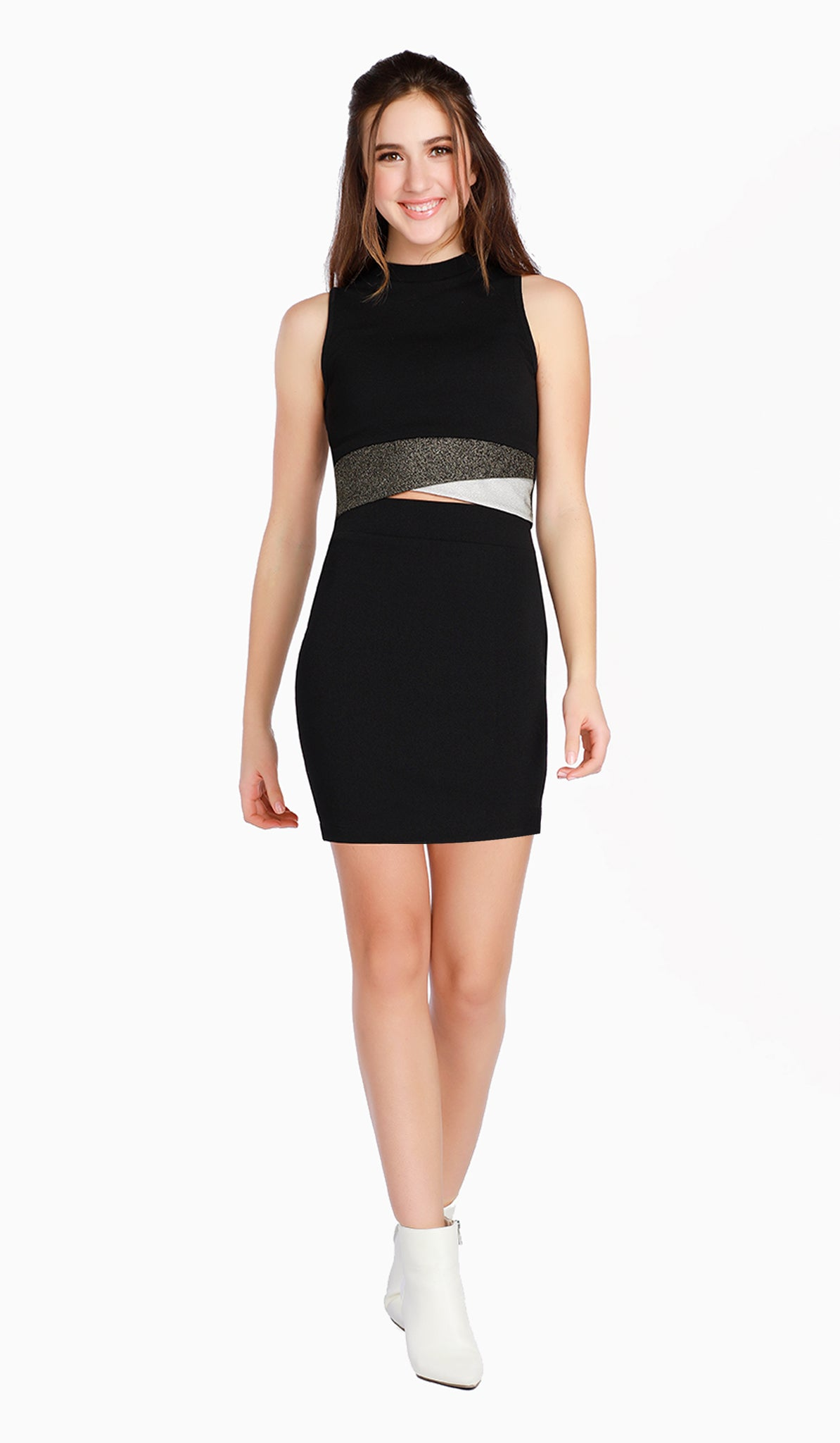 The Sally Miller Nina Set | Black textured stretch knit set with sparkle mesh detail at waist and bodycon skirt  | Luxury tween dresses & juniors dresses for all occasions and events