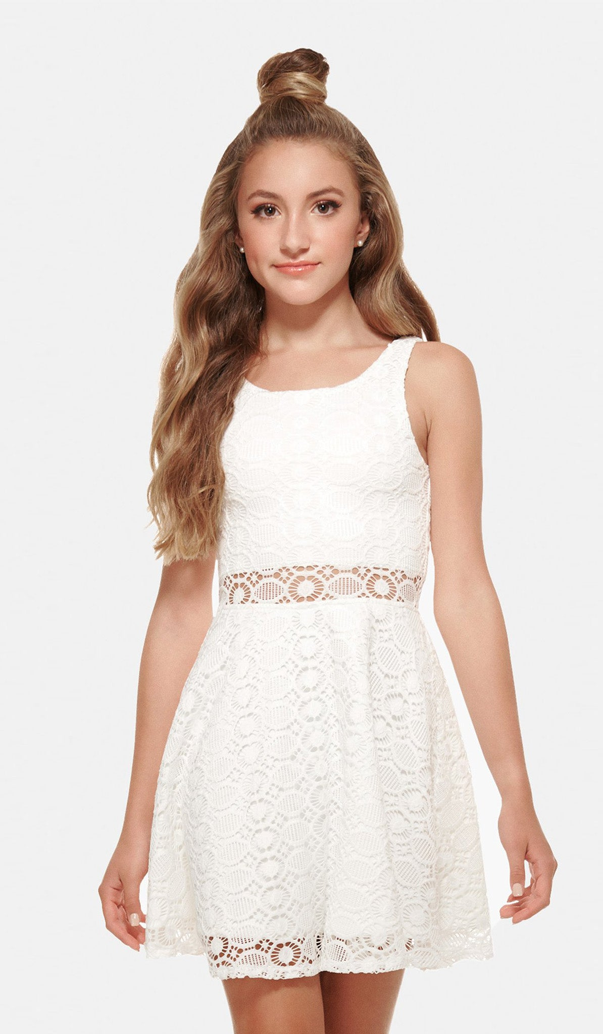 The Sally Miller Nancy Dress - Ivory crochet lace fit and flare dress with illusion waist