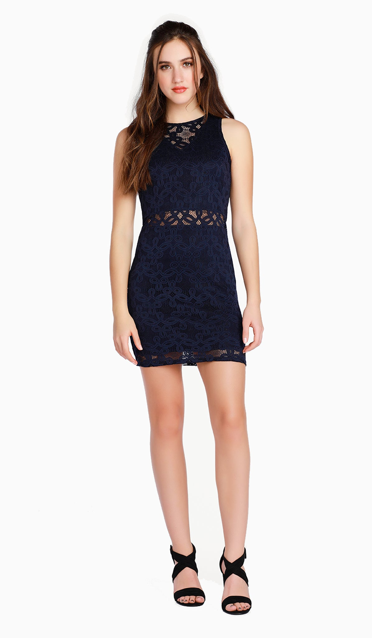 The Sally Miller Olivia Dress | Ink stretch lace overlay bodycon dress with illusion yoke and waist and zipper at back  | Luxury tween dresses & juniors dresses for all occasions and events