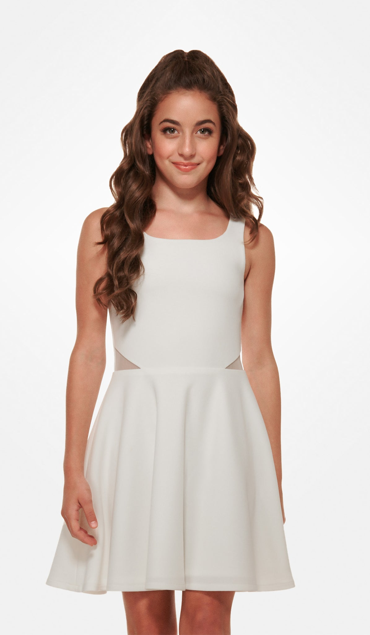 The Riley Dress - Ivory stretch crepe georgette dress with mesh illusion waist inserts