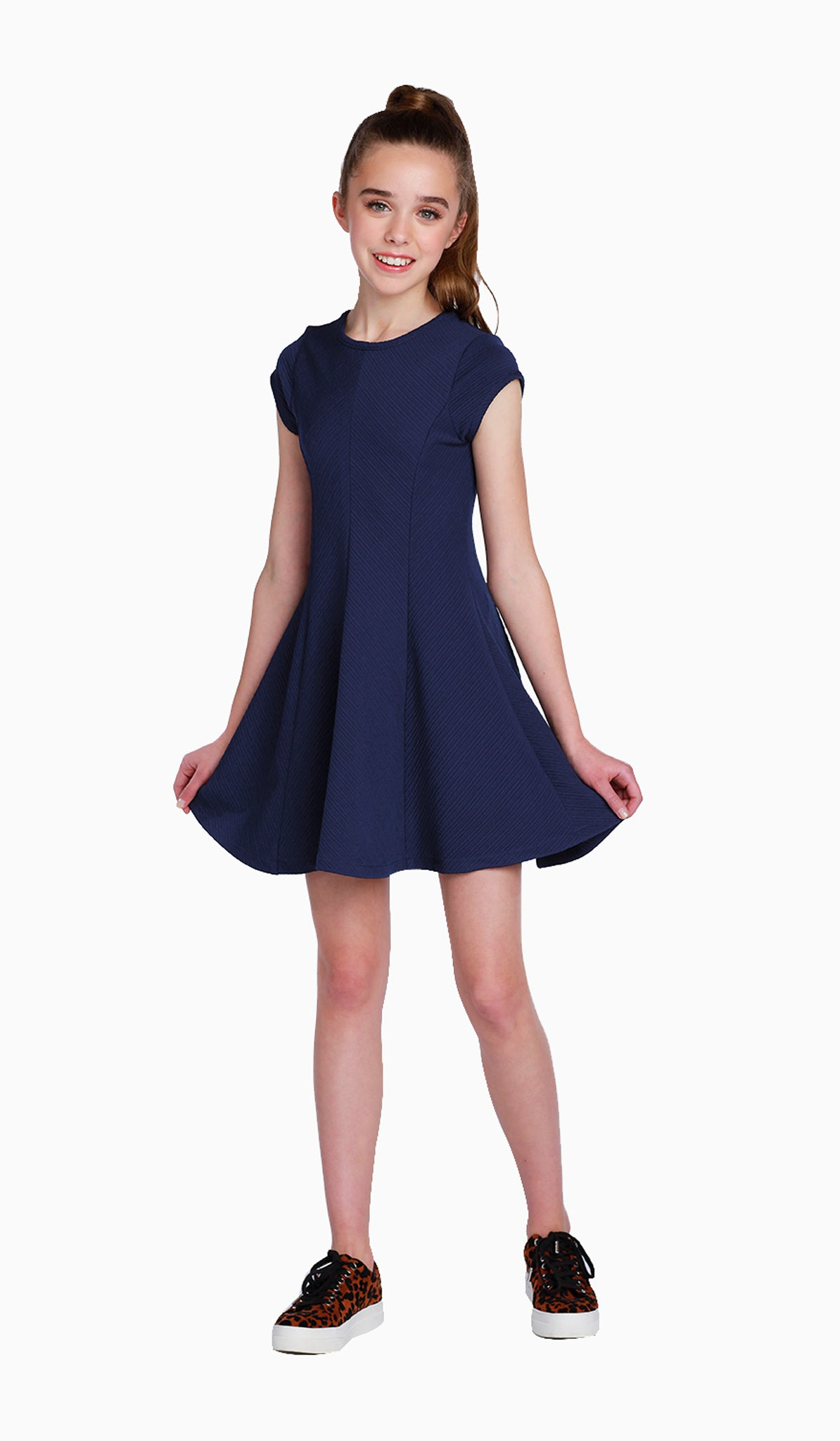 The Sally Miller Sandra Dress | Navy textured stretch knit fit and flare dress with cap sleeves |  | Luxury tween dresses & juniors dresses for all occasions and events