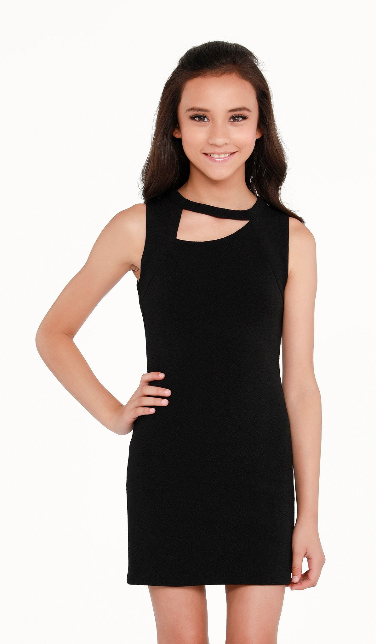 The Sally Miller Brittany Dress Black stretch textured knit bodycon dress with asymmetrical neckline and zipper at back