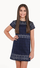 The Sally Miller Janet Dress - Navy medallion stretch lace cap sleeve shift dress with color blocked lining and zipper at back