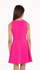 The Sally Miller Jenny Dress - Pink stretch knit fit and flare dress with asymmetrical neckline and zipper at back