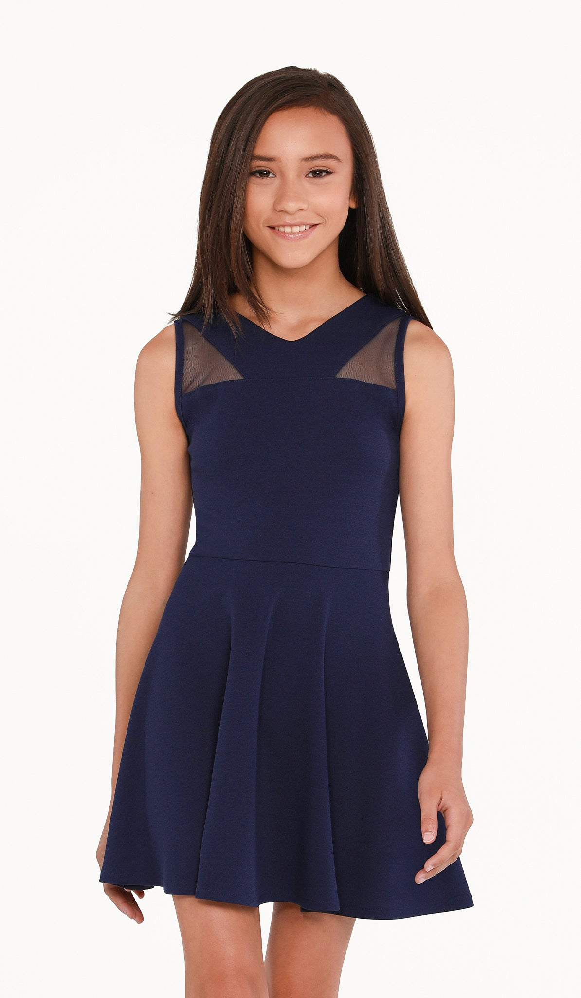 The Sally Miller Jill Dress - Navy stretch knit fit and flare V-neck dress with illusion neck yoke