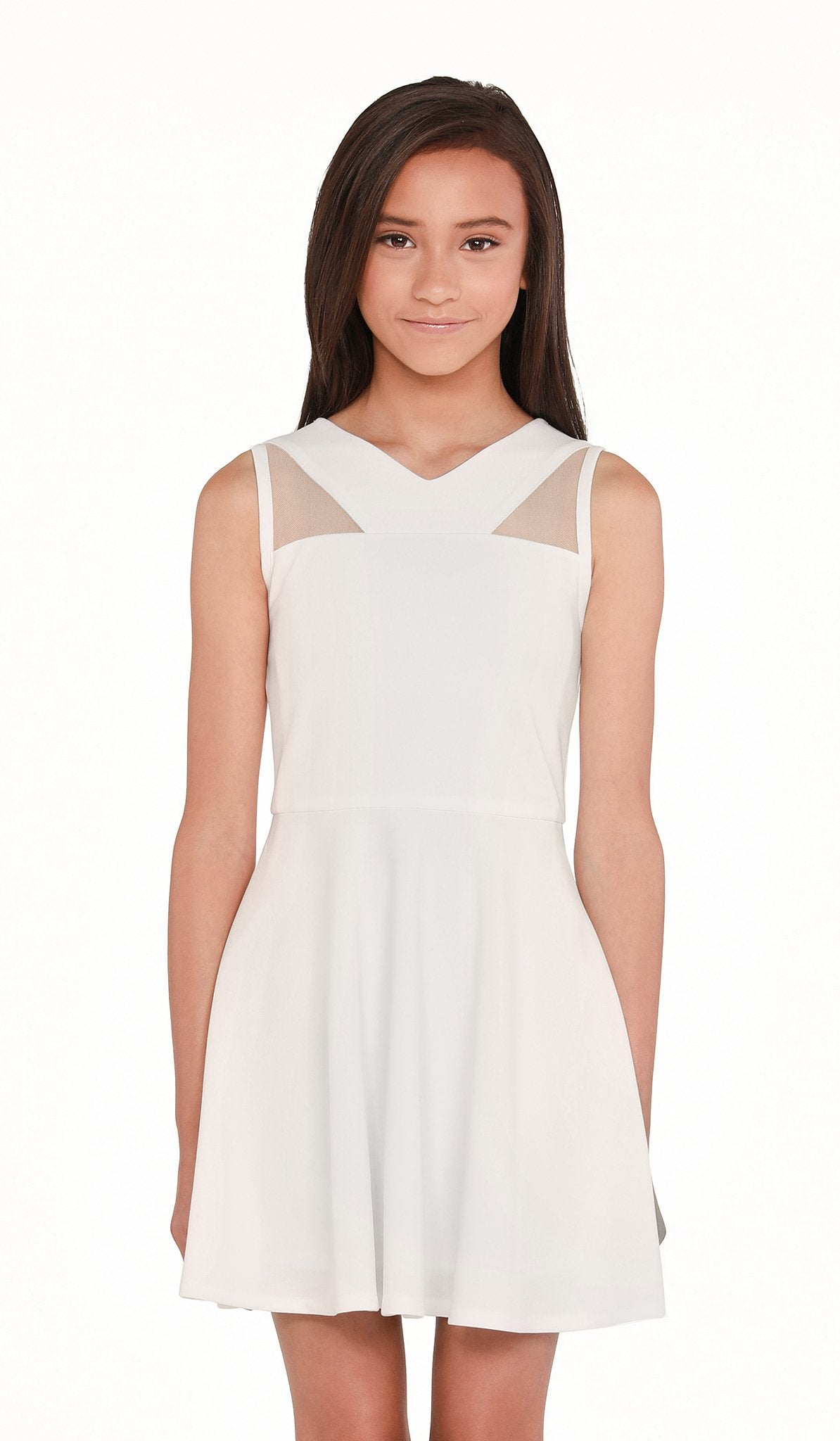 The Sally Miller Jill Dress - Ivory stretch knit fit and flare V-neck dress with illusion neck yoke