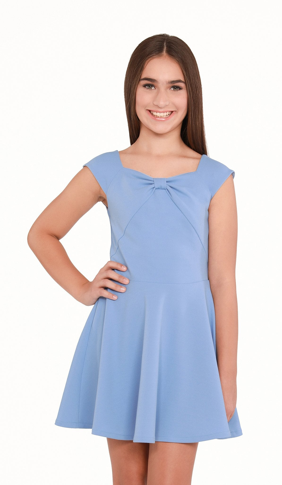 The Sally Miller Liv Dress - Blue stretch knit cap sleeve fit and flare dress with bow detail