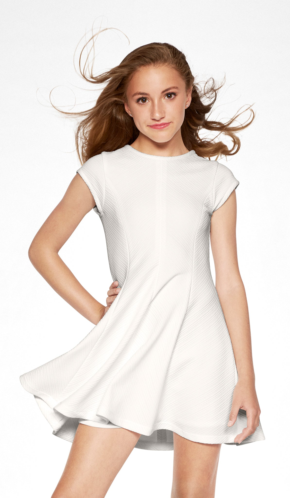 Sally Miller ivory skater dress with cap sleeves