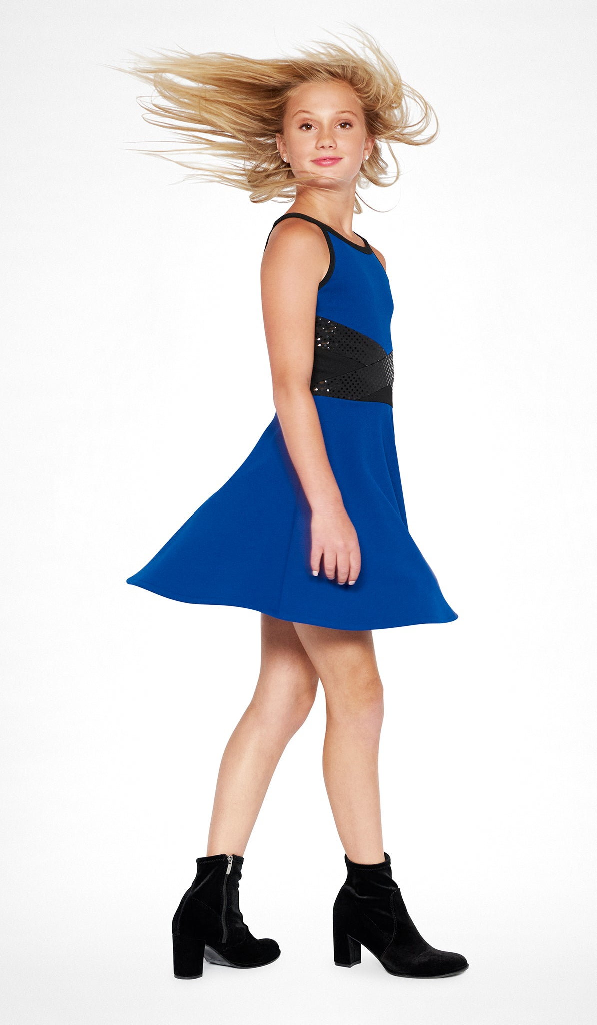 Sapphire combo fit and flare dress