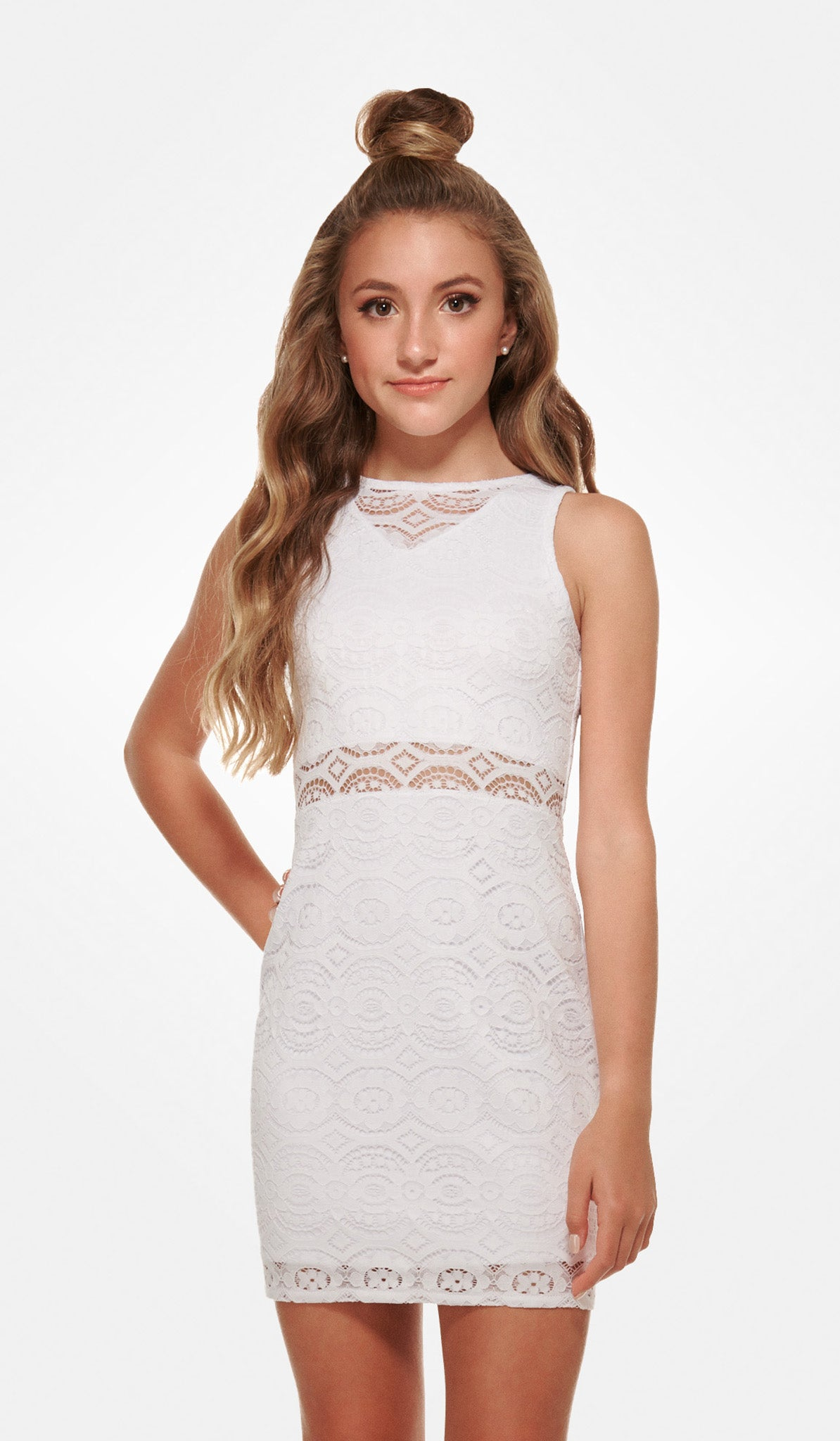 The Sally Miller Adriana Dress - White stretch crochet lace bodycon dress with illusion waist and yoke