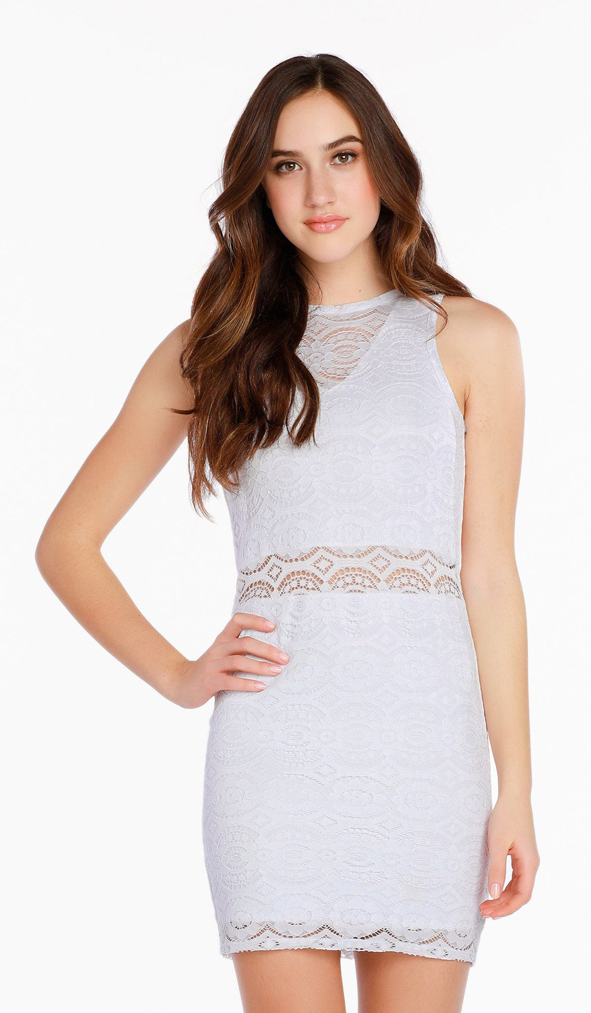 The Sally Miller Adriana Dress Juniors - White stretch crochet lace bodycon dress with illusion waist and yoke