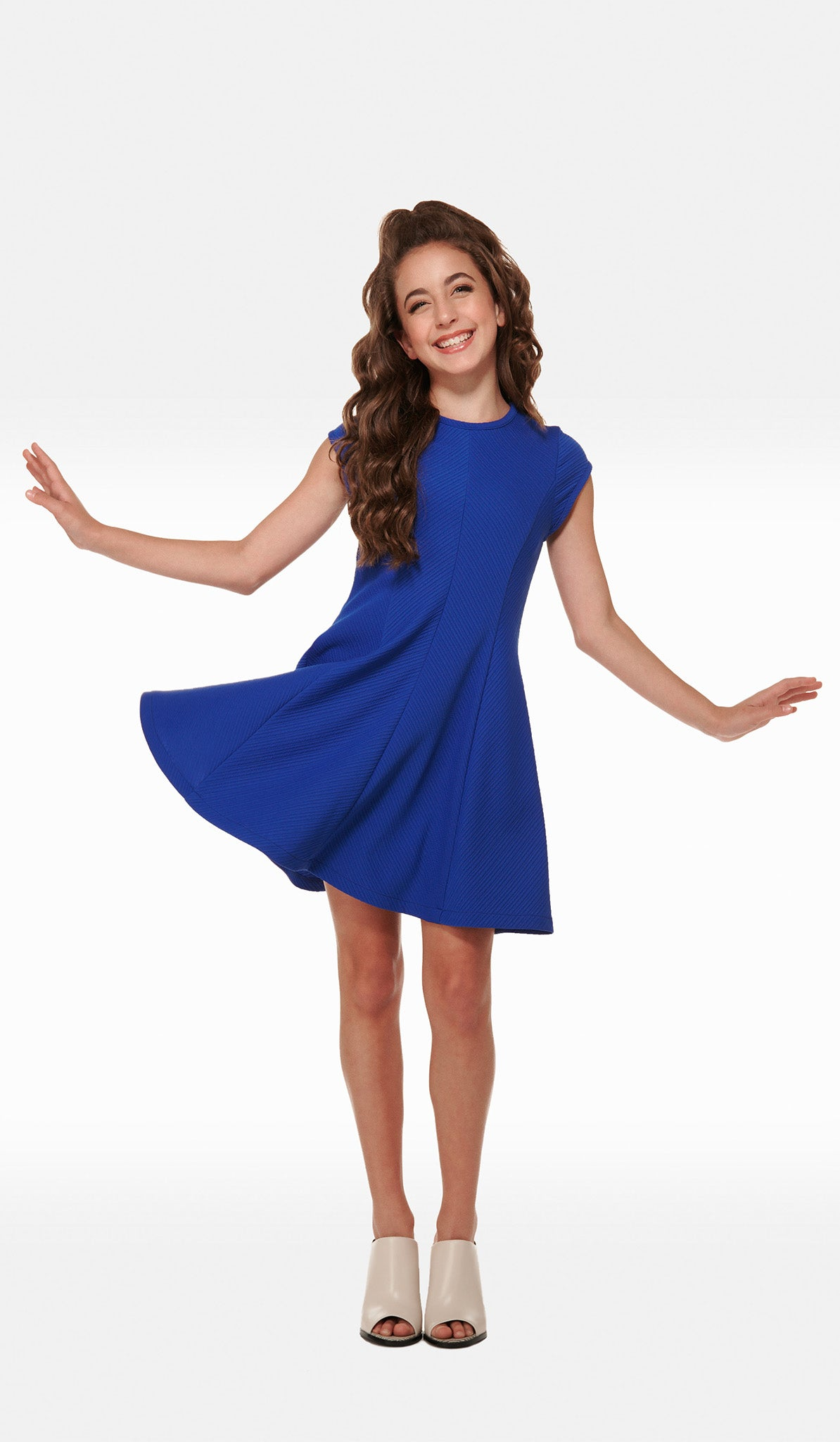 The Sally Miller Allie Dress - Royal textured stretch knit fit and flare dress with cap sleeves