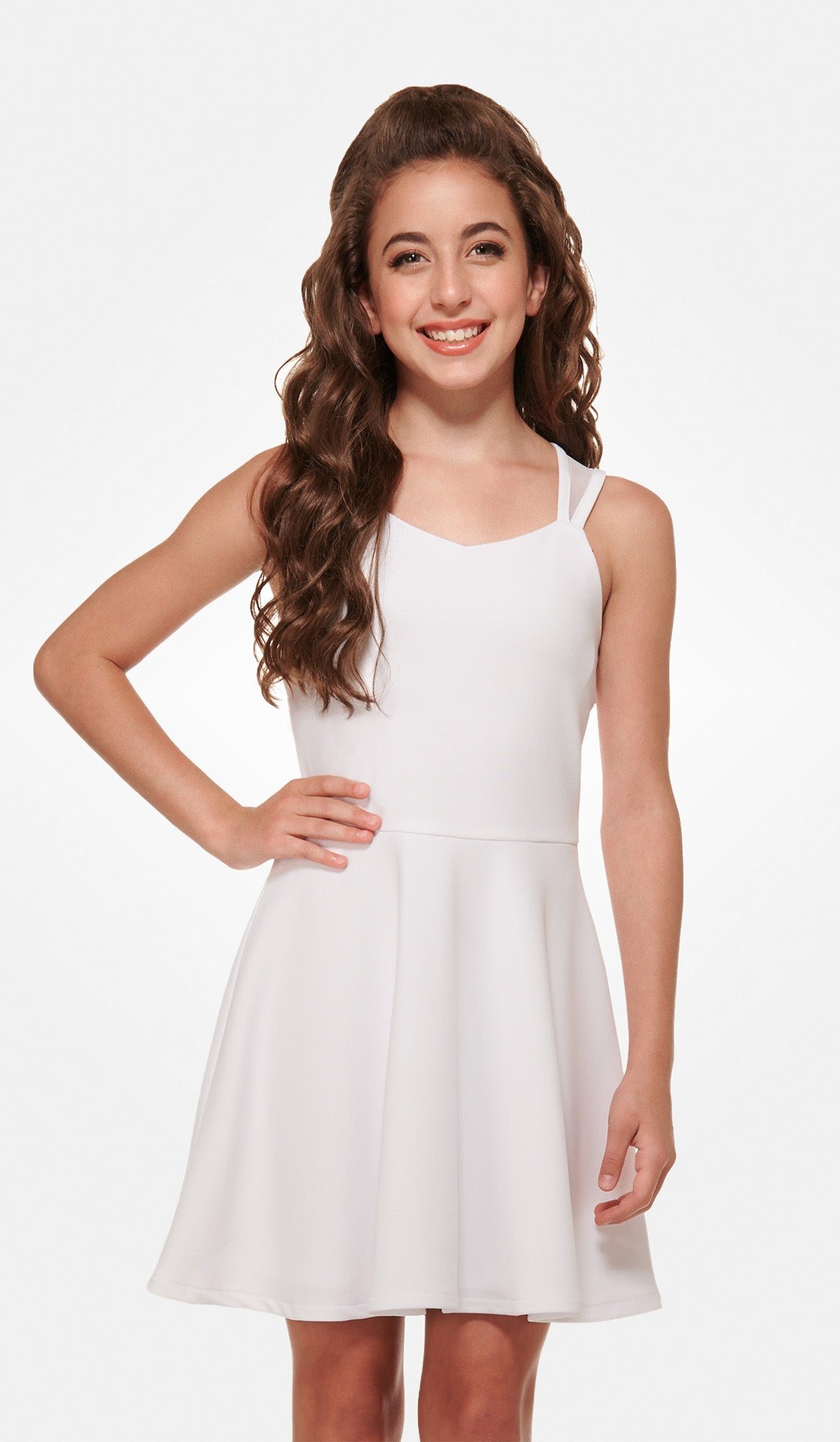 The Sally Miller Aspen Dress - White checkered texture stretch knit skater dress with mesh straps