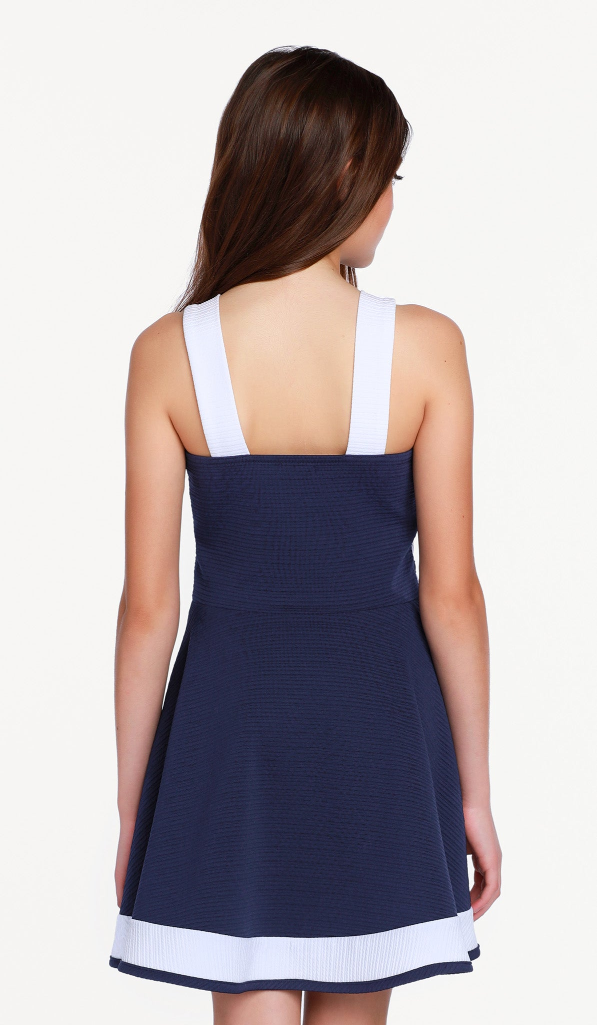 The Bridget Dress - Navy textured stretch knit fit and flare dress with white trim detail