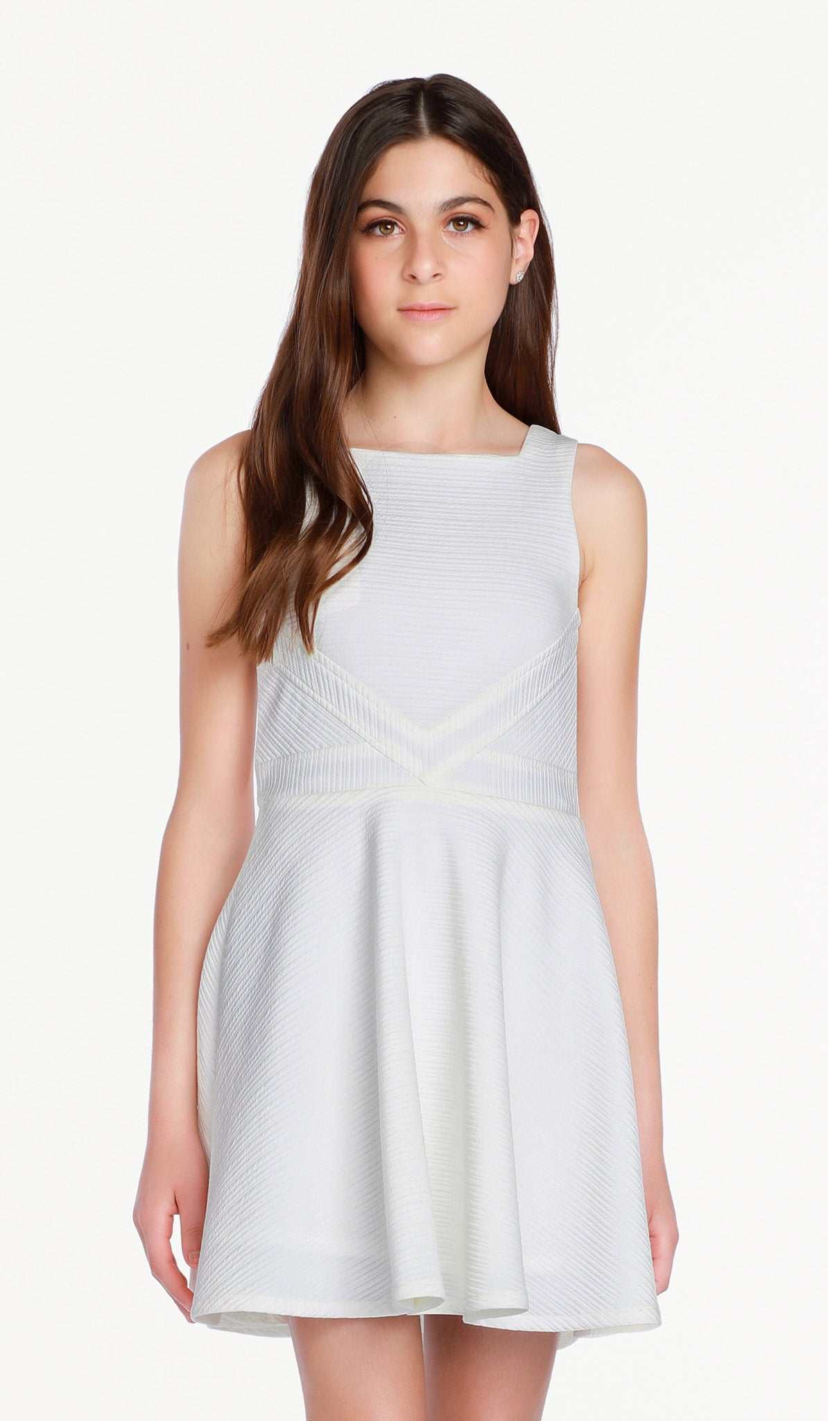 The Sally Miller Carrie Dress - Ivory textured stretch knit dress fully lined