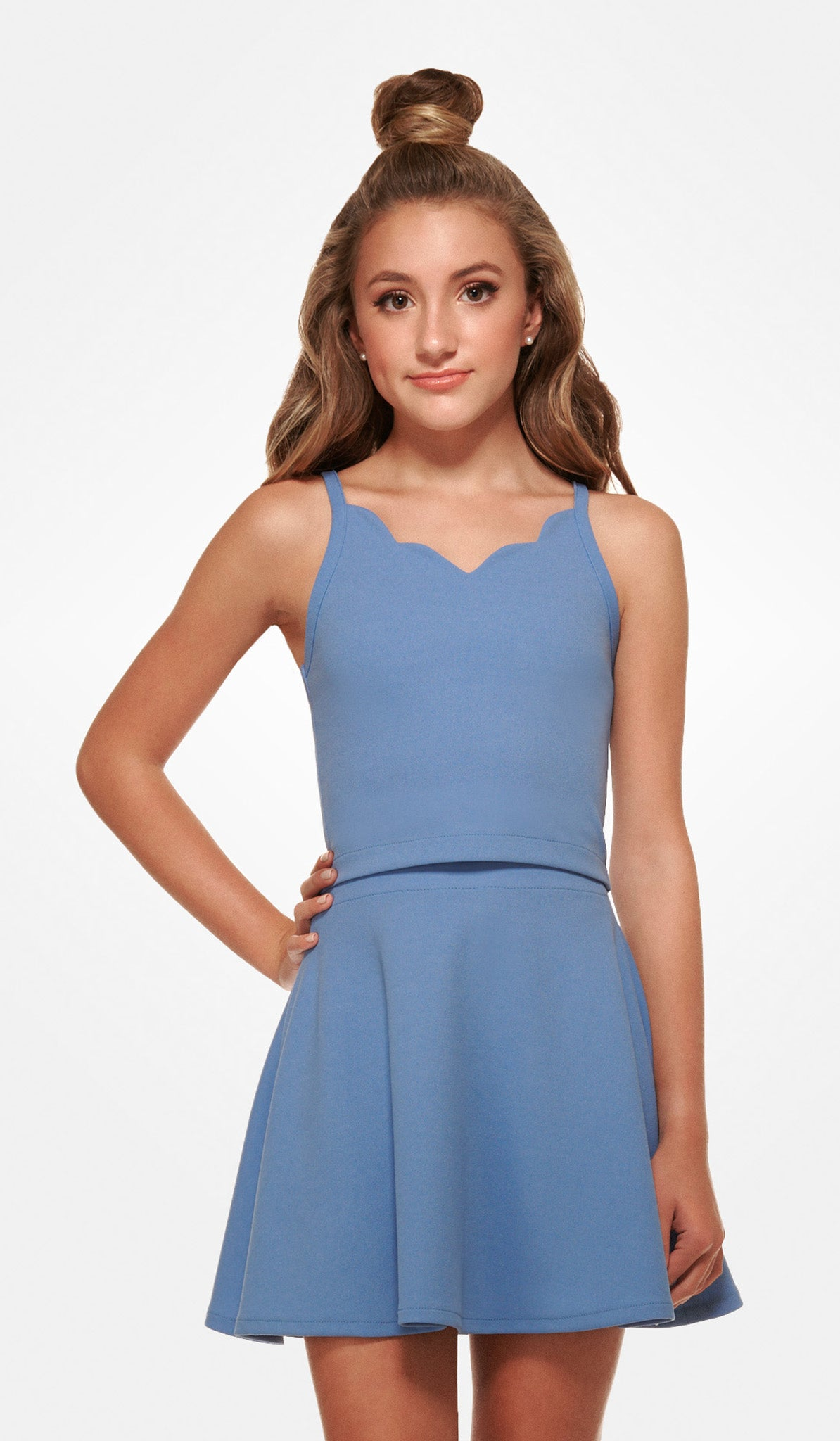 The Sally Miller Coco Set - Blue scallop crepe georgette fit and flare skirt set