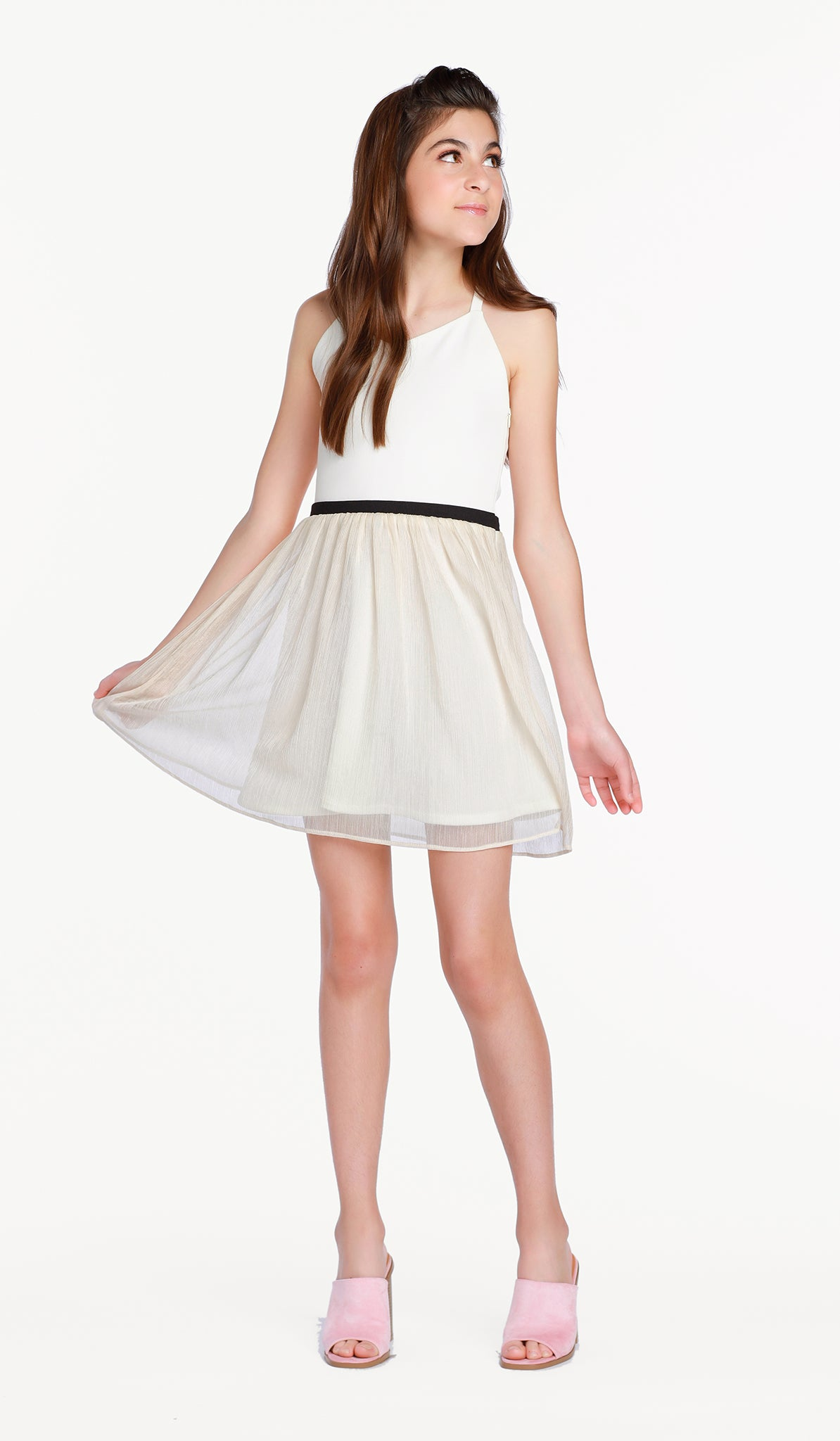 The Sally Miller Emmie Dress - Ivory ballet neck super ponti bodice with blush textured chiffon gathered skirt and side invisible zipper