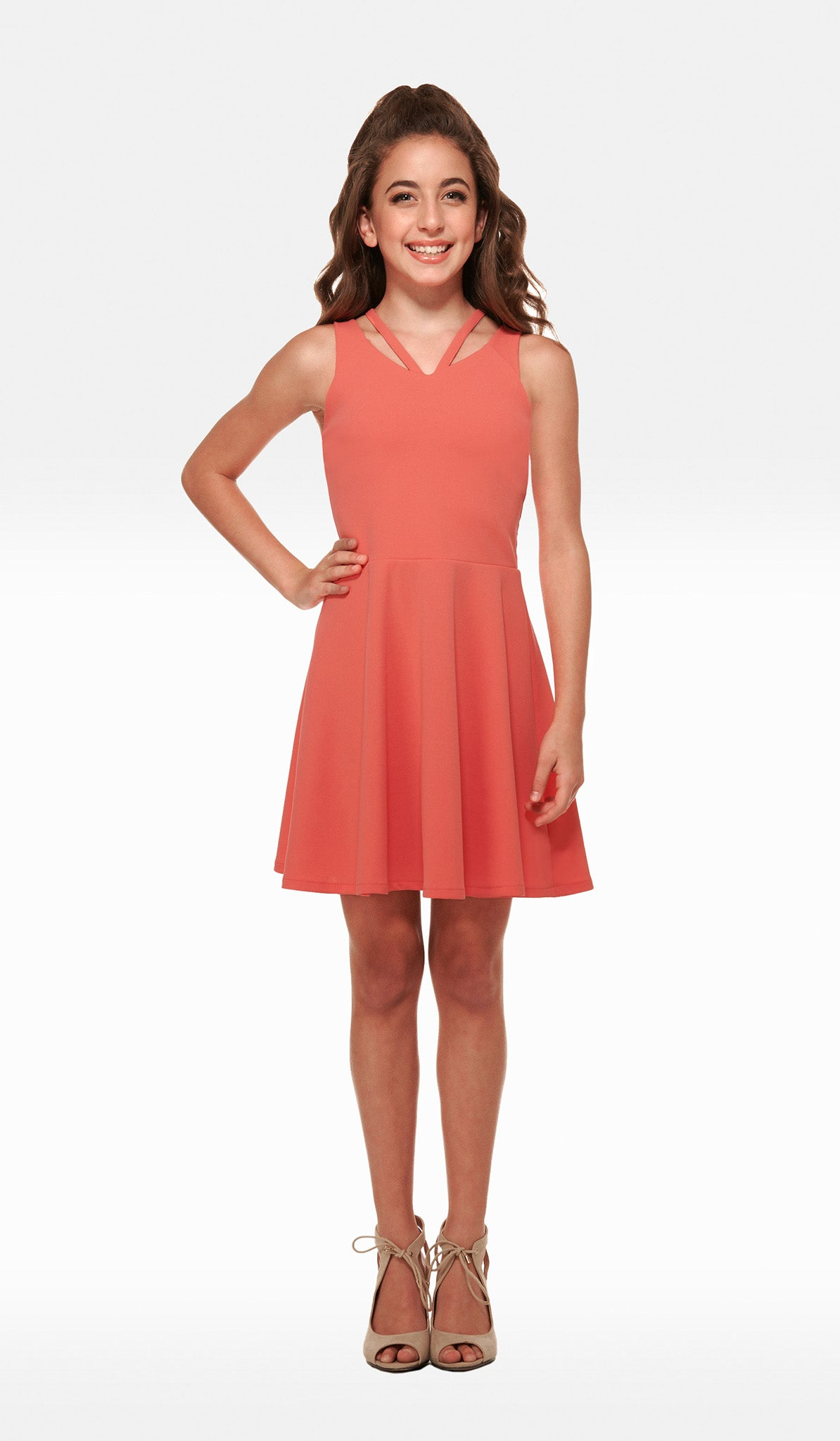 The Sally Miller Georgia Dress - Coral crepe georgette fit and flare dress with double straps