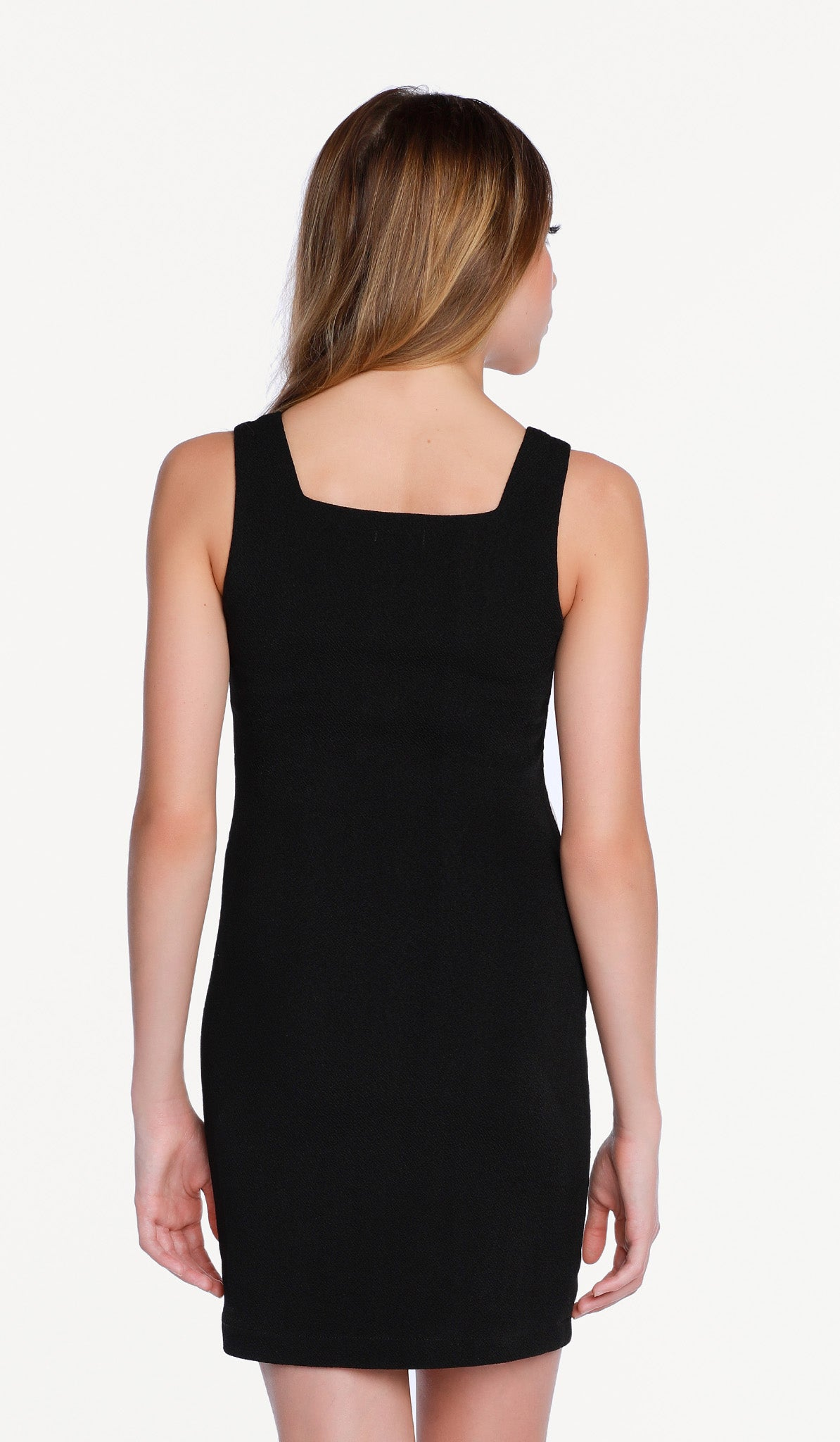 The Sally Miller Gia Dress - Black stretch textured knit body con dress with ivory waist detail