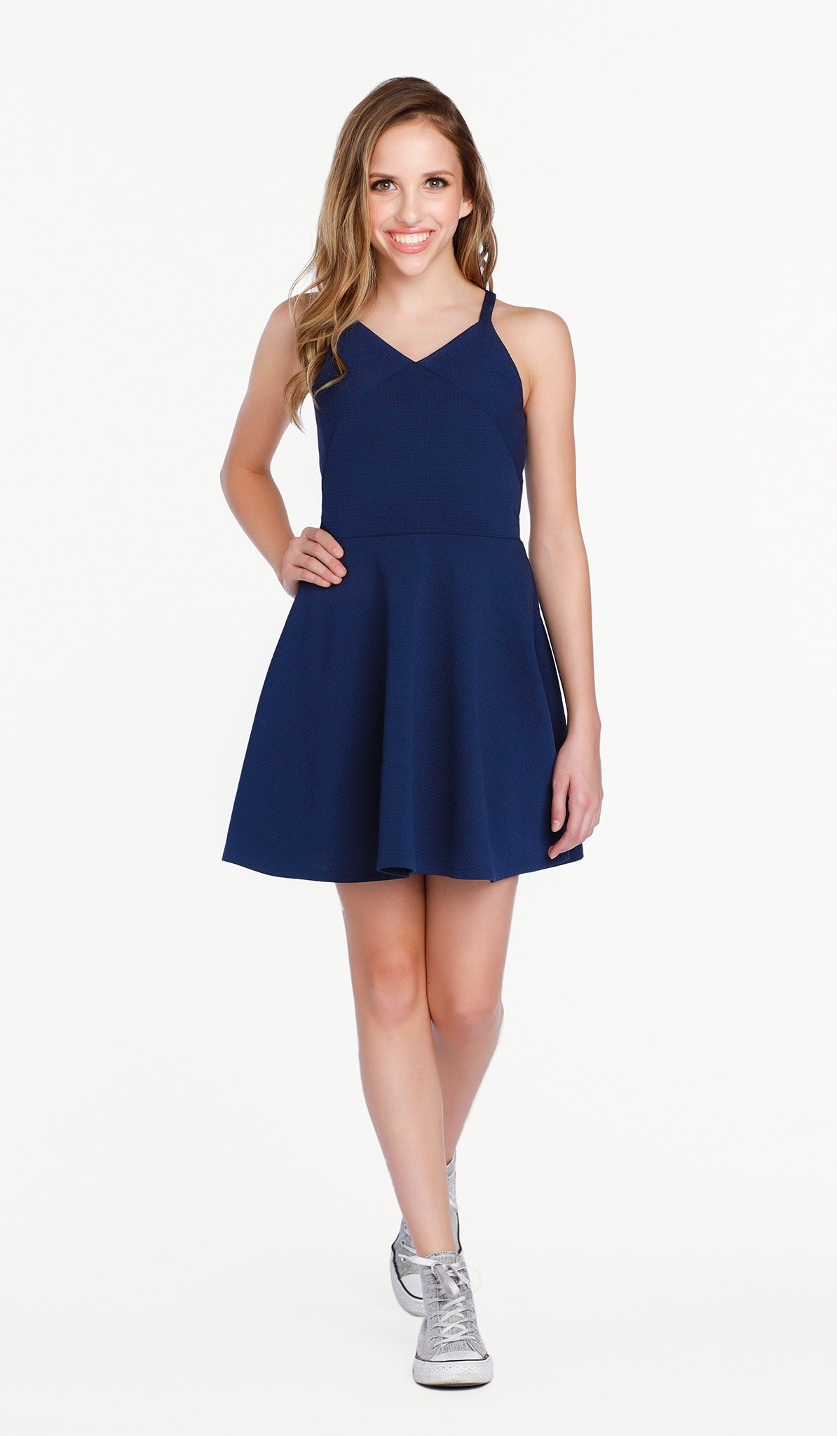 The Sally Miller Gianna Dress in Navy - Navy textured stretch knit fit and flare dress