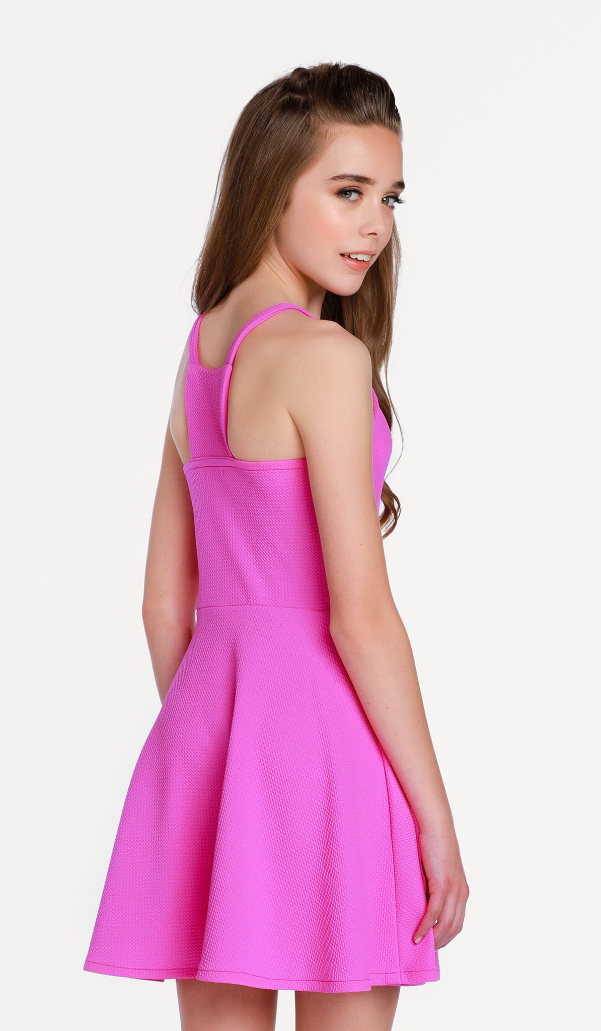 The Gianna Dress - Pink textured stretch knit fit and flare dress
