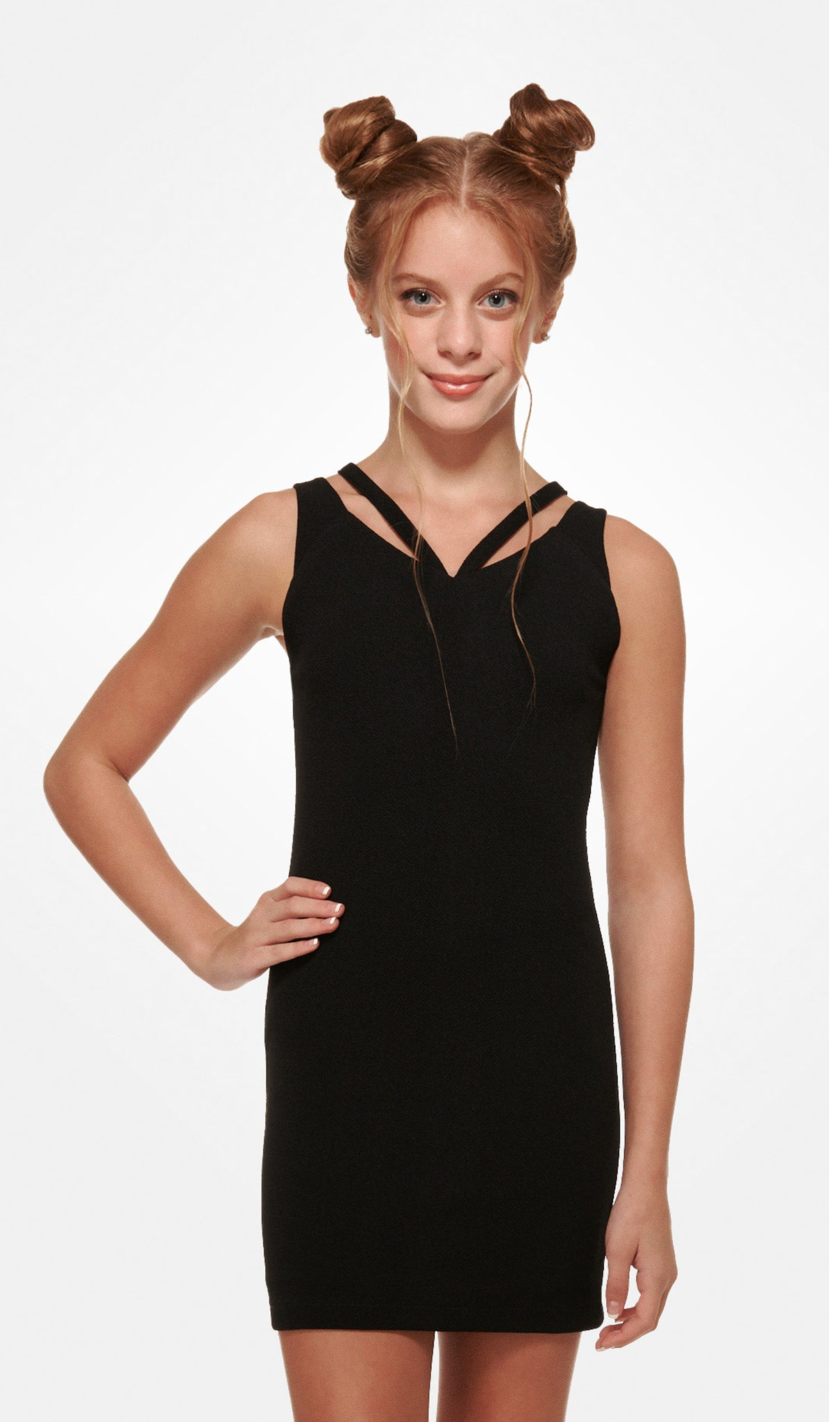 The Sally Miller Kate Dress - Black textured knit bodycon dress with double straps