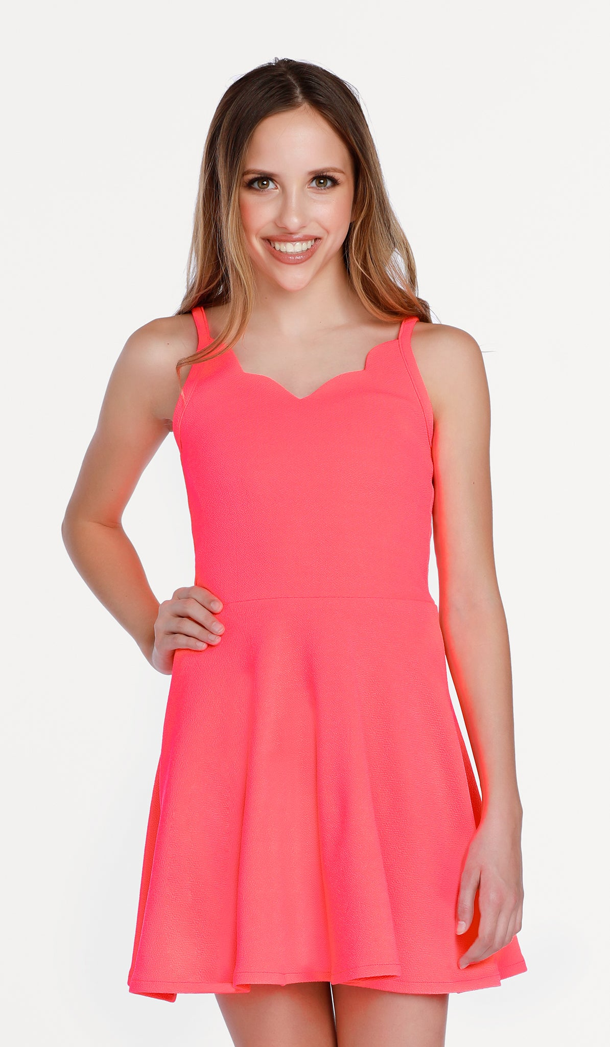 The Sally Miller Laynie Dress in Neon Coral - Neon Coral textured stretch knit fit and flare dress with scallop detail