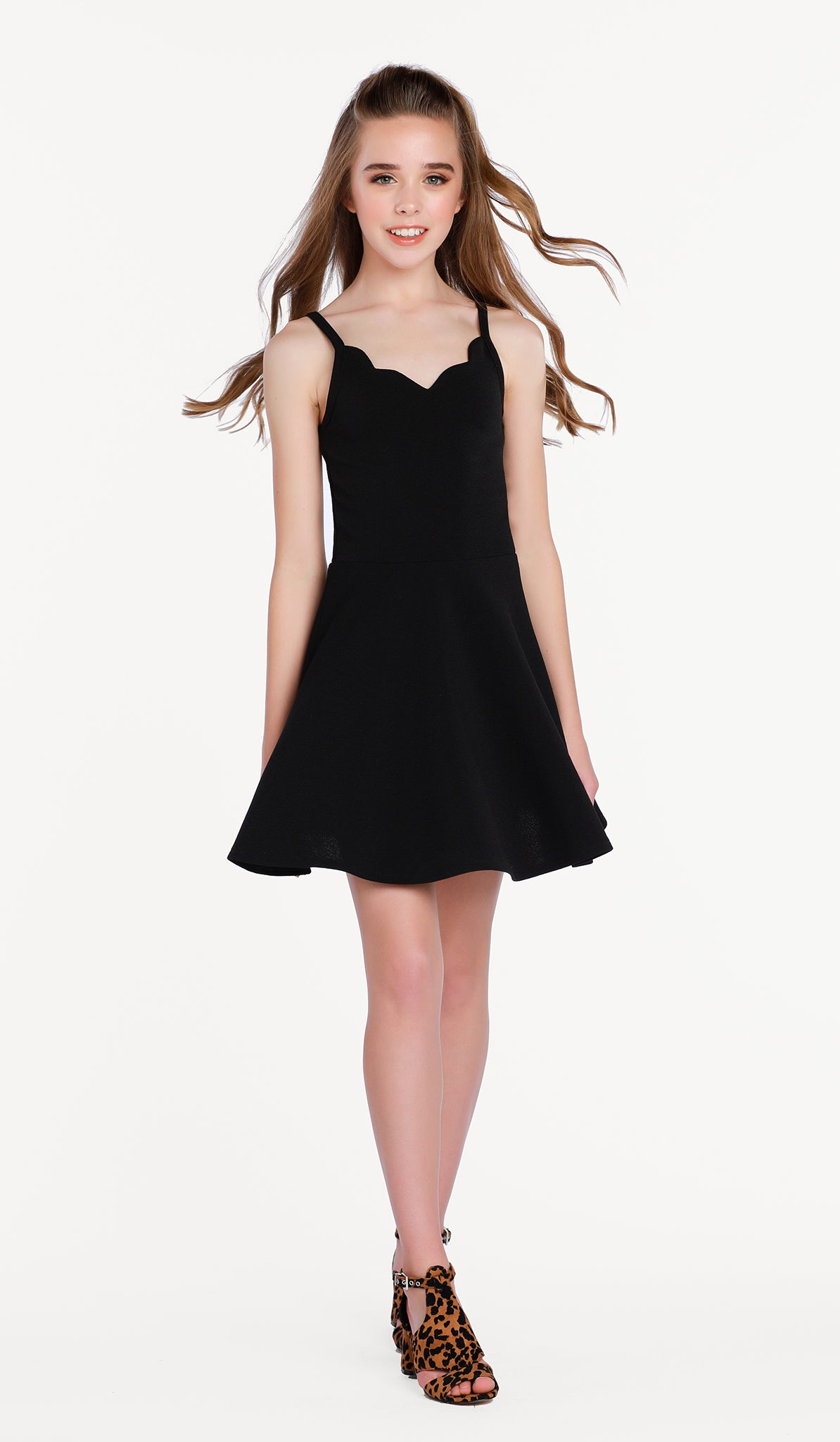 The Sally Miller Laynie Dress in Black - Black textured stretch knit fit and flare dress with scallop detail