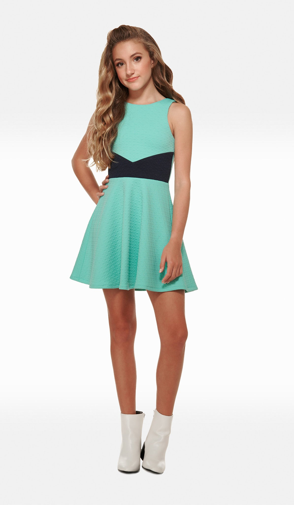 The Sally Miller Lily Dress - Mint textured stretch knit skater dress with exposed back silver zipper with circle ring