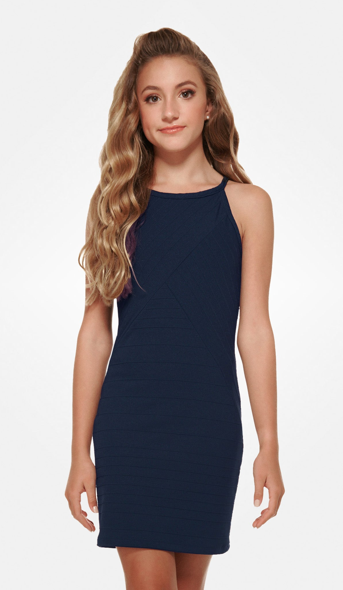 The Sally Miller Mandy Dress Navy varigated stripe textured stretch knit body con dress fully lined