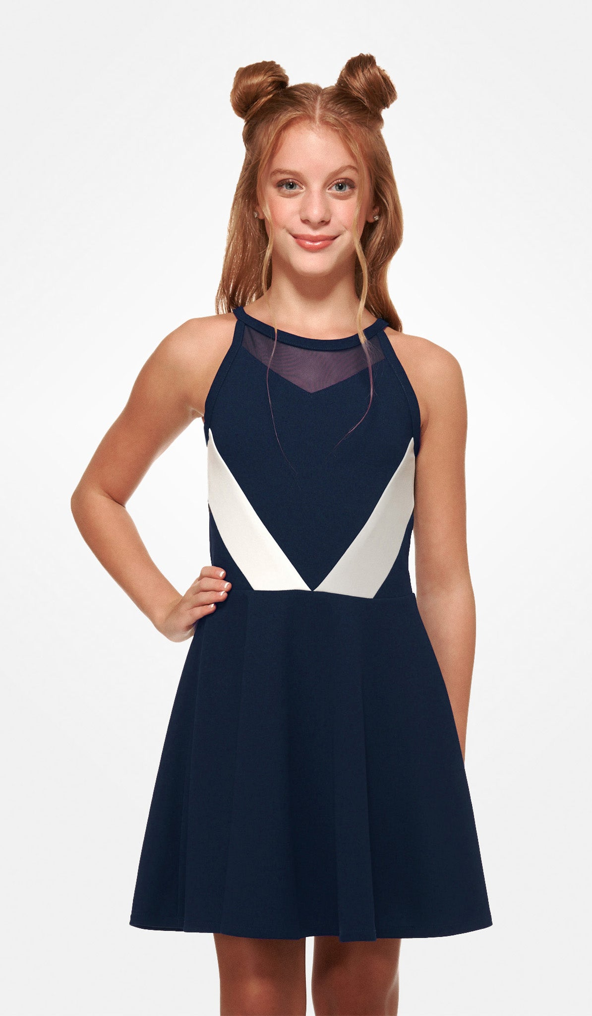 The Sally Miller Natalie Dress - Navy color block stretch crepe georgette dress with mesh illusion detail