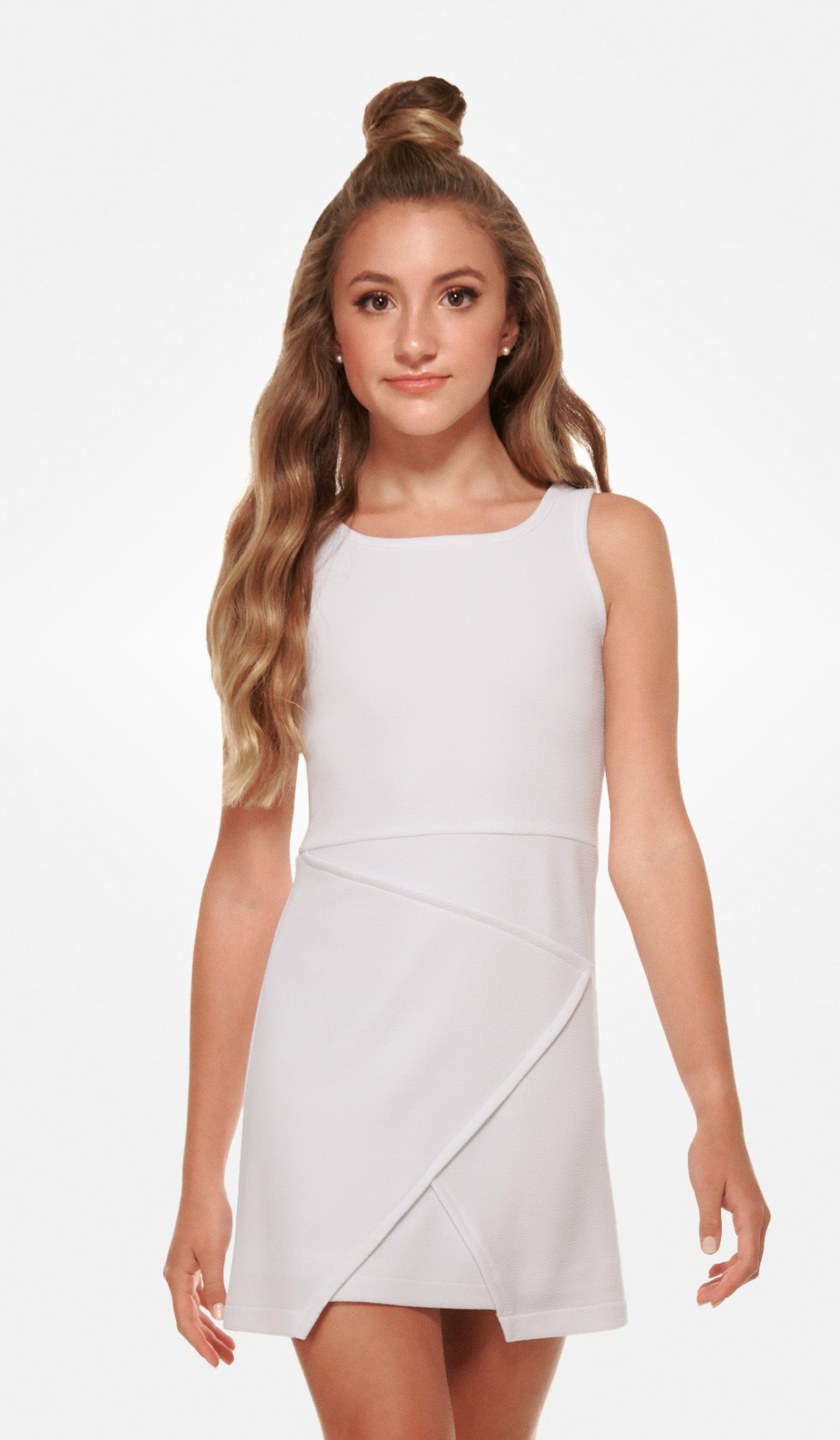 The Sally Miller Nicole Dress - white textured stretch knit envelope a-line dress
